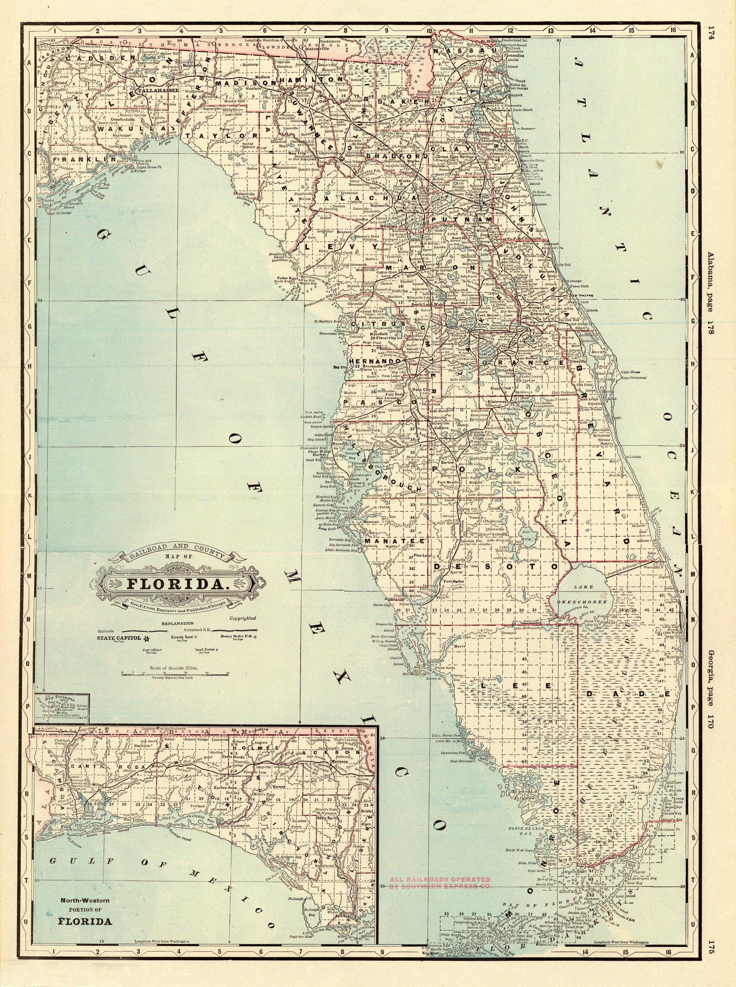Florida Memory - County Map Of Florida, 1885 - Map Of Hernando County Florida
