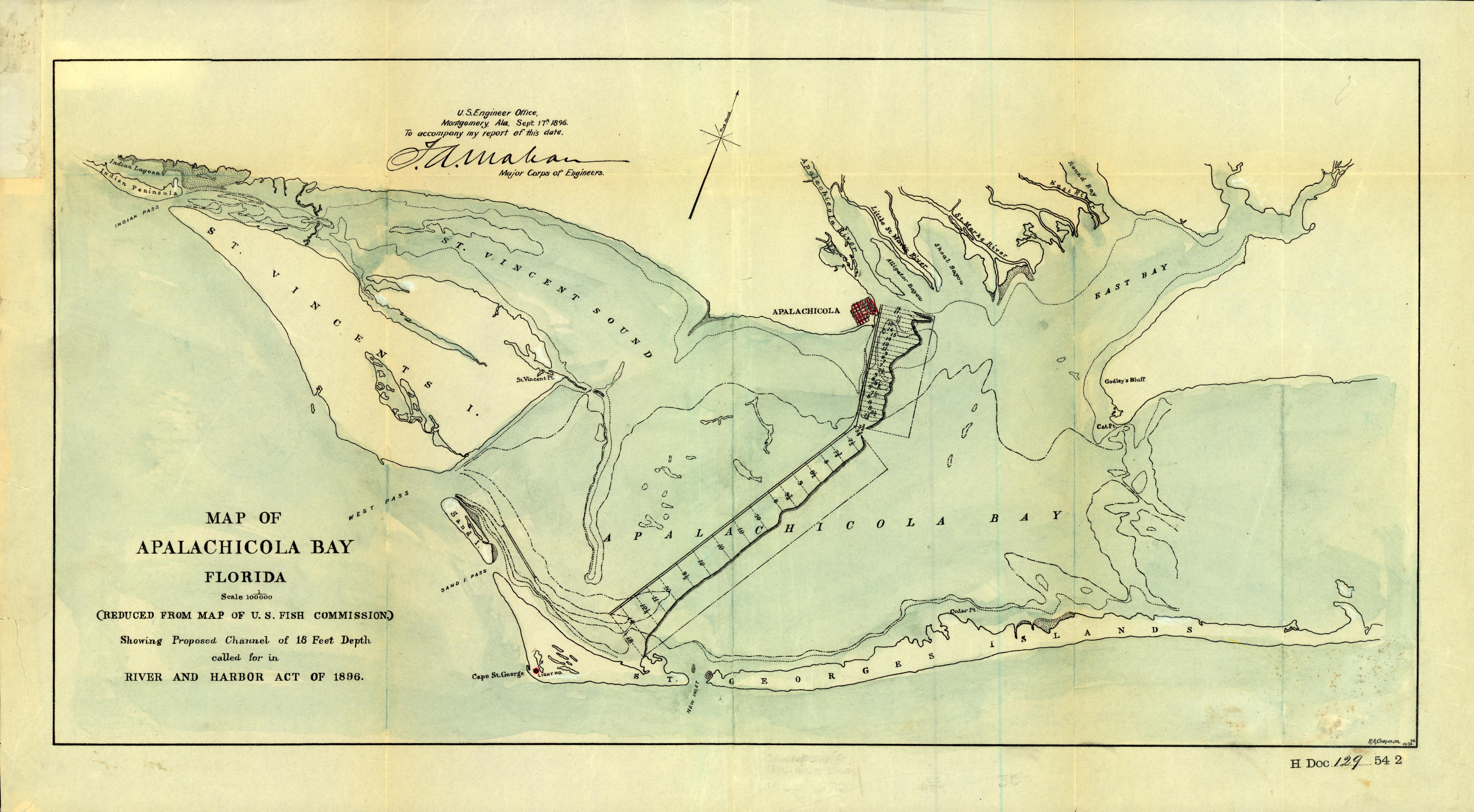 Florida Memory - Map Of Apalachicola Bay Florida, 1896 - Where Is Apalachicola Florida On The Map