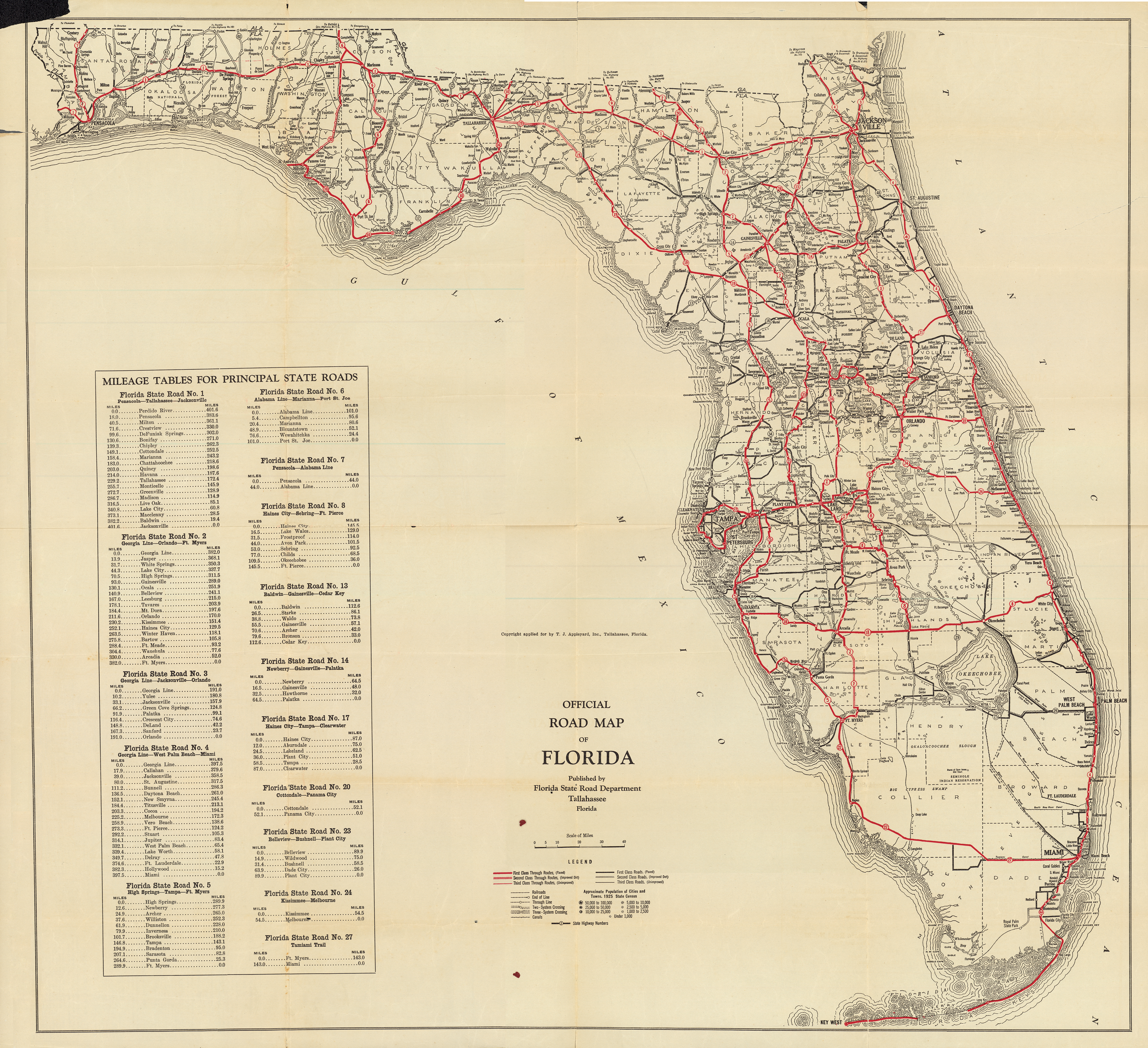 Florida Memory - Official Road Map Of Florida, 1930 - Carrabelle Florida Map