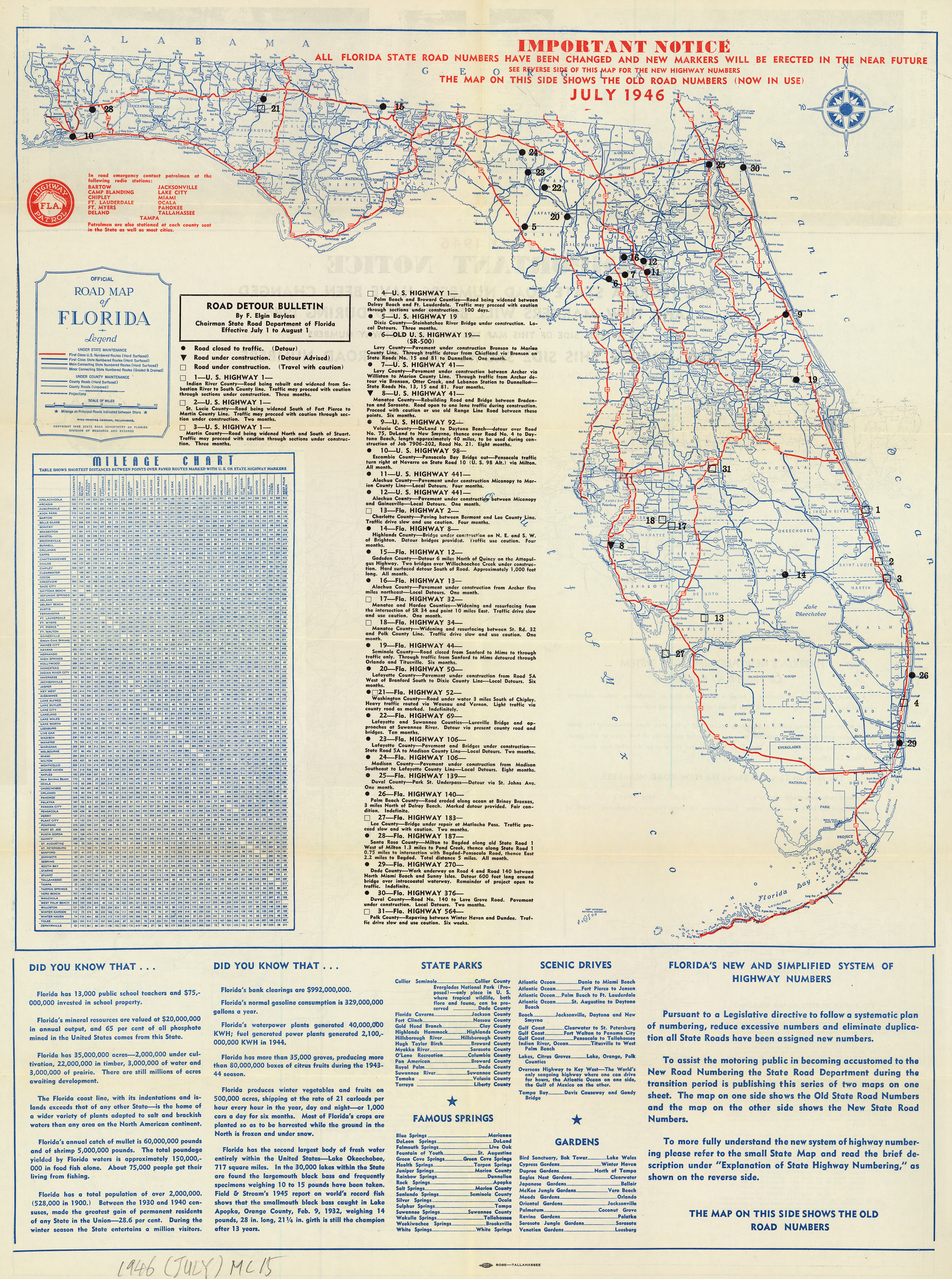 Florida Memory - Official Road Map Of Florida, 1946 - Labelle Florida Map