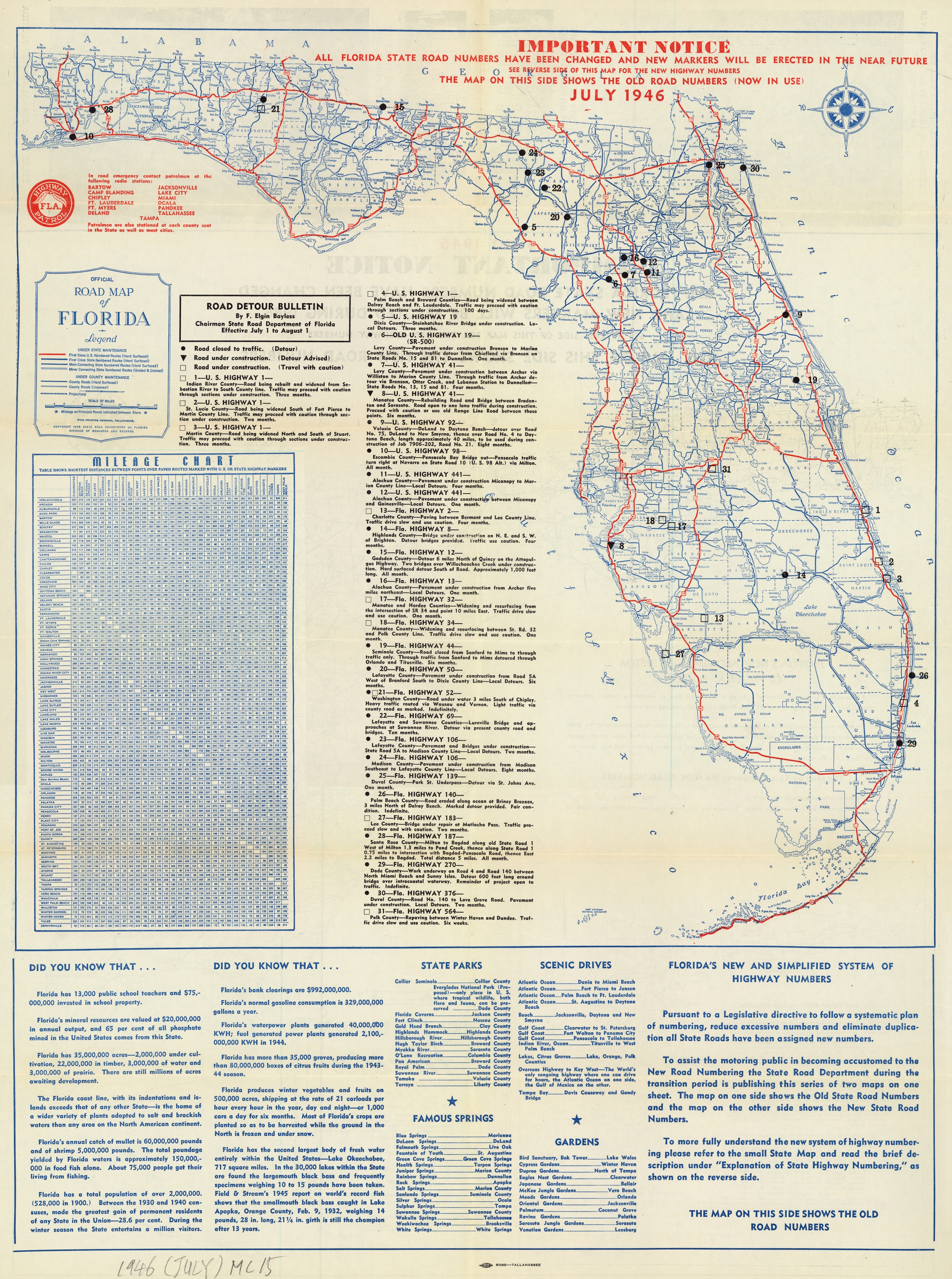 Florida Memory - Official Road Map Of Florida, 1946 - Lake Alfred Florida Map