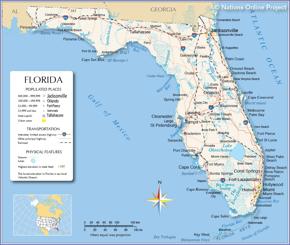 Florida - Miami, Fort Lauderdale, Hollywood, Islamorada, Orlando - Coral Gables Florida Map
