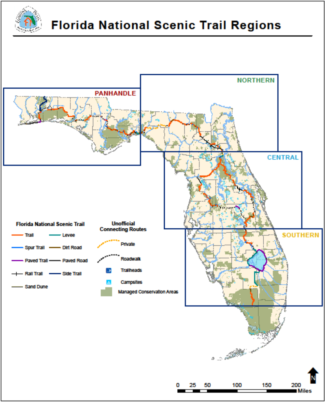 Florida National Scenic Trail - About The Trail - Florida Trail Map