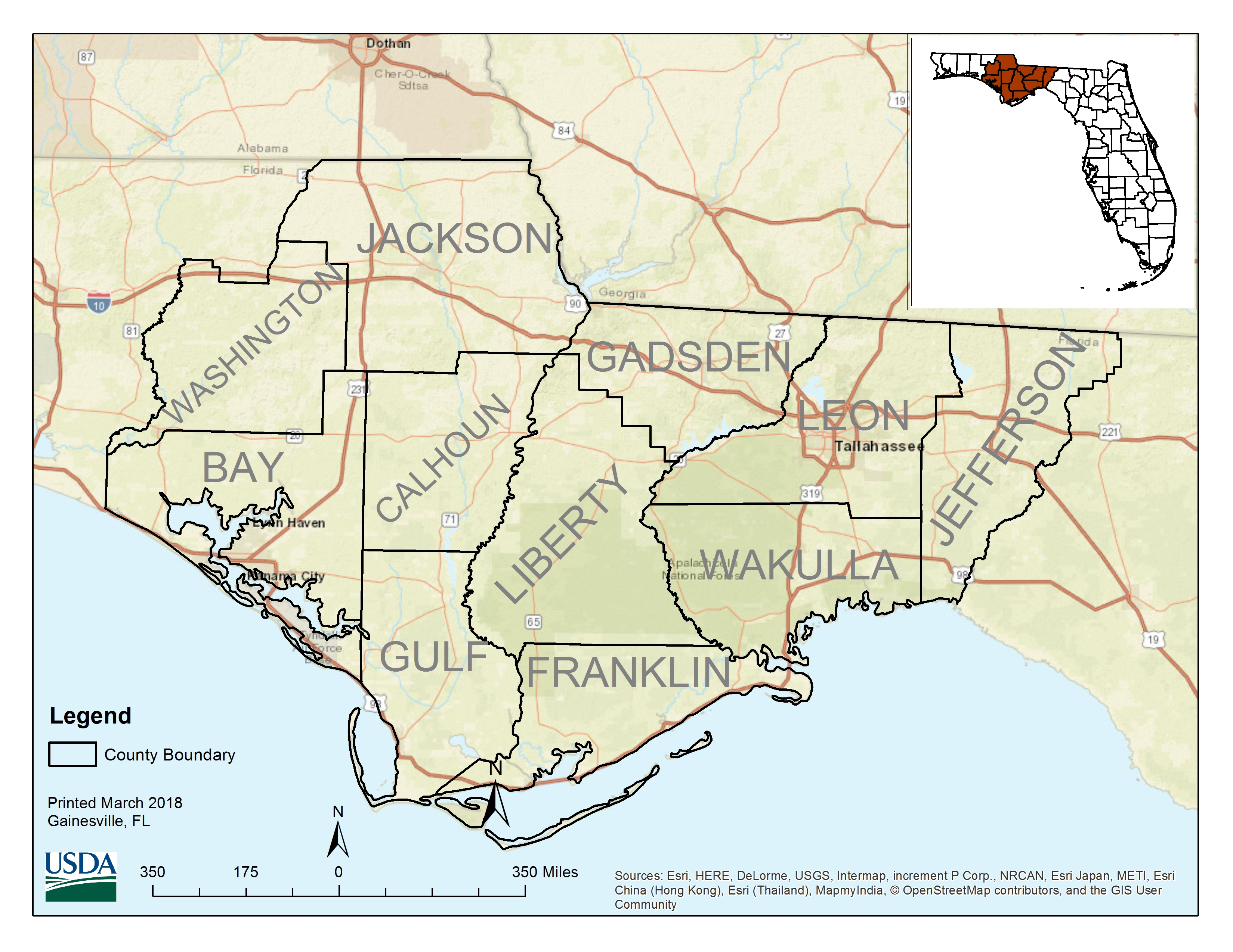 Florida Nrcs Offers Sign-Up For Tri-State Conservation Project - Usda Eligibility Map For Florida