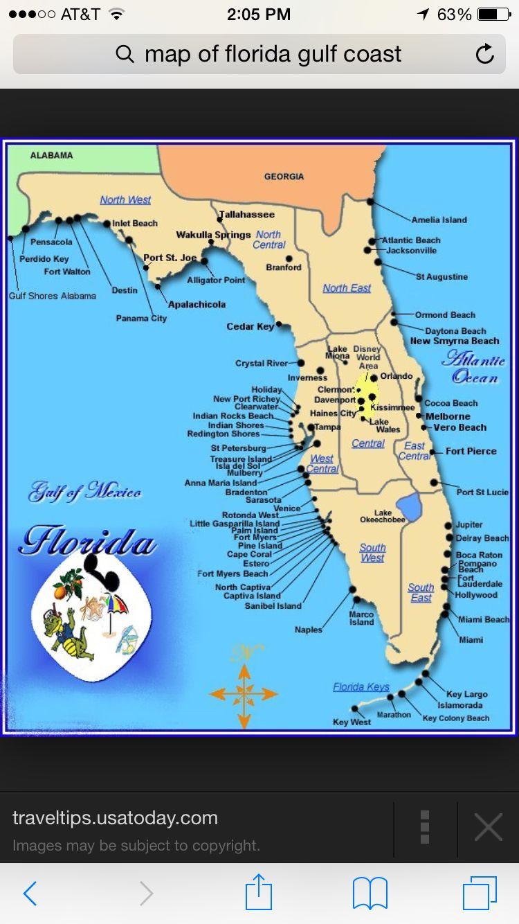Florida | Places I Want To Visit | Pinterest | Florida Gulf Coast - Map Of Florida Gulf Side