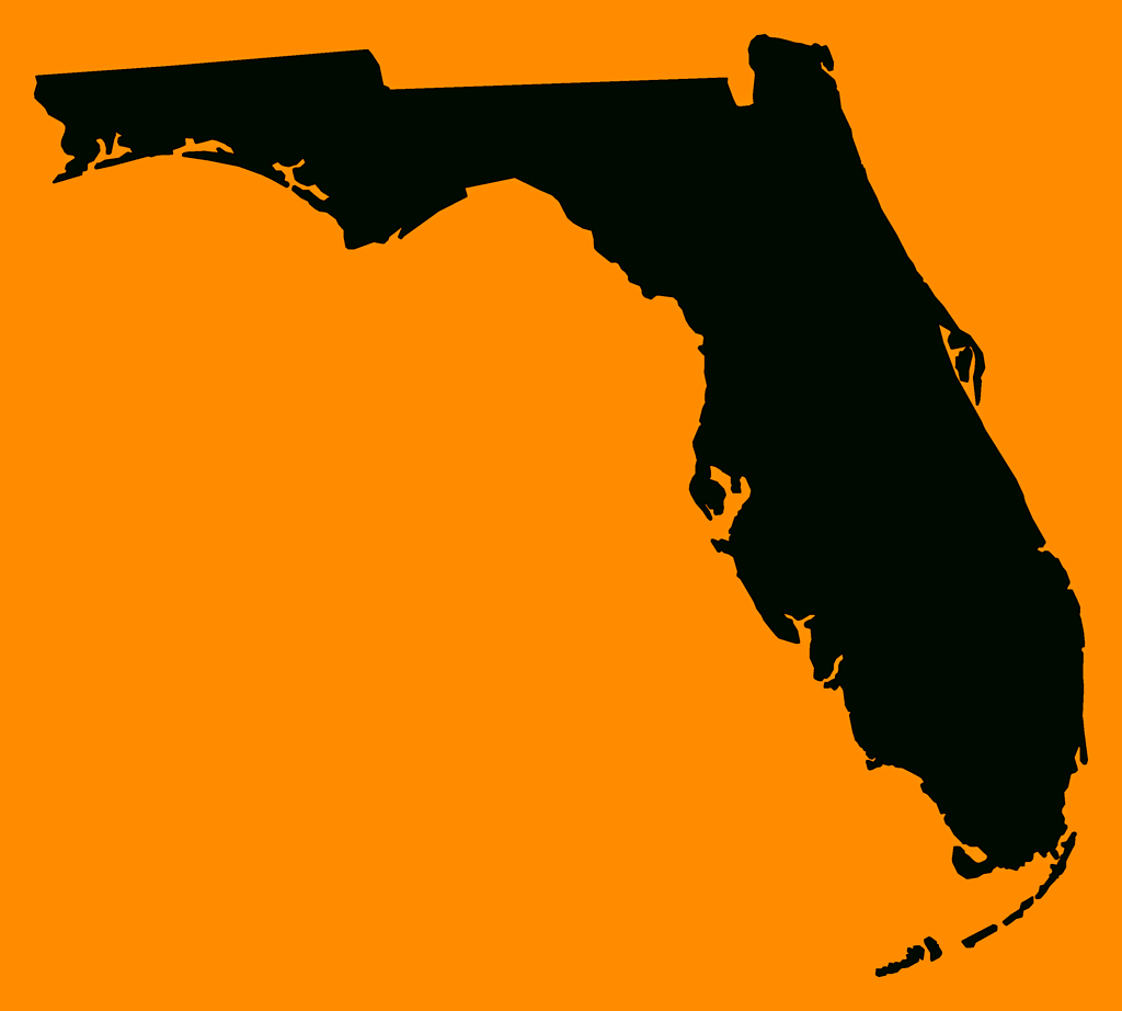 "Florida ""plain Frame"" Style Maps In 30 Colors - Orange Florida Map"