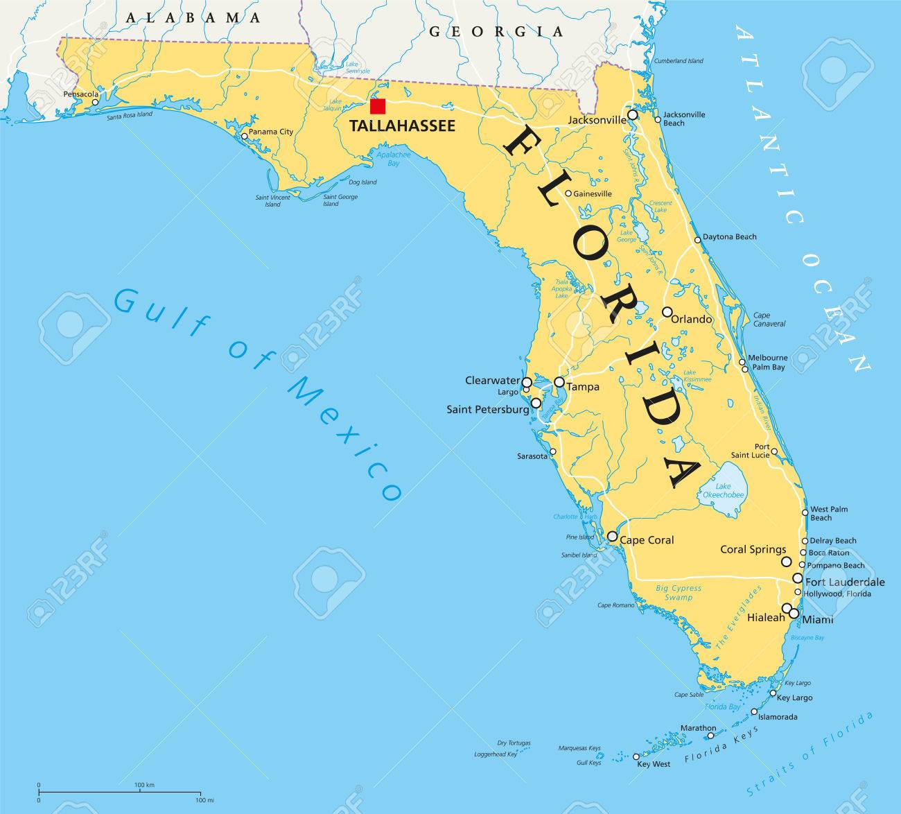Florida Political Map With Capital Tallahassee, Borders, Important - Tallahassee On The Map Of Florida