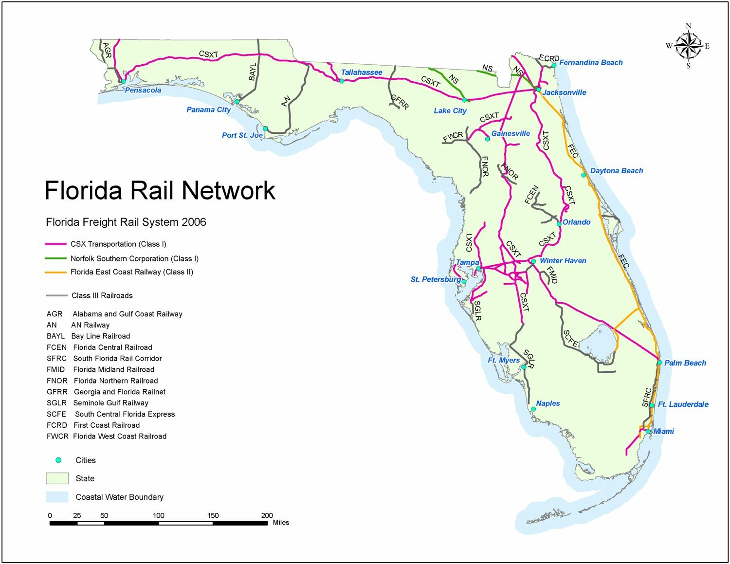 Florida Rail Map And Travel Information | Download Free Florida Rail Map - Current Map Of Florida