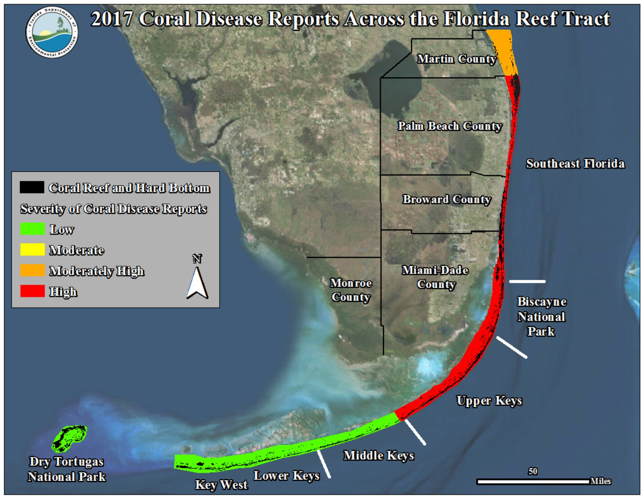 Florida Reef Map Fco Coral Reef Disease Map 2017 Updated V2 Kb 1 9 - Coral Reefs In Florida Map