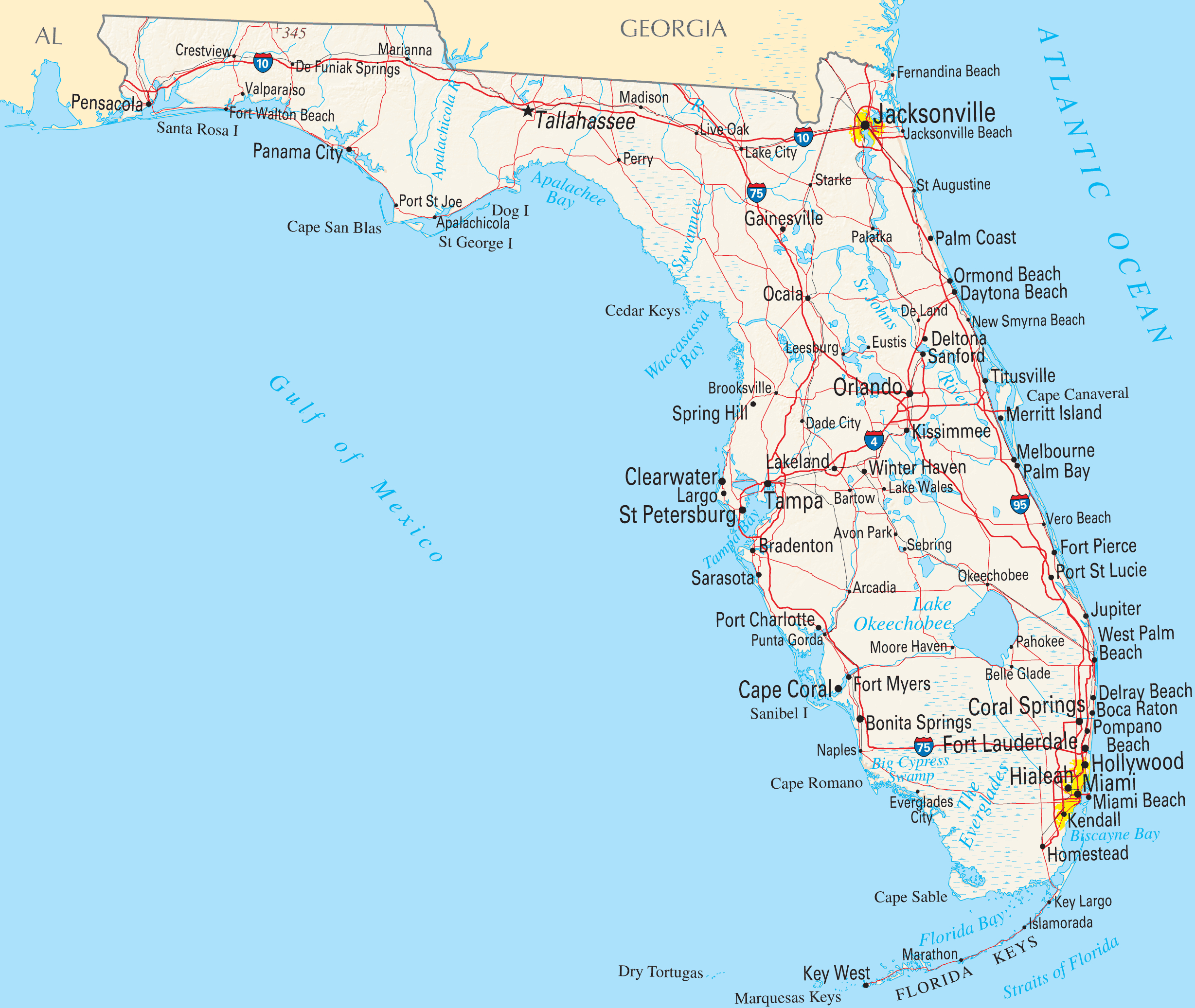 Florida Reference Map • Mapsof - Florida Street Map