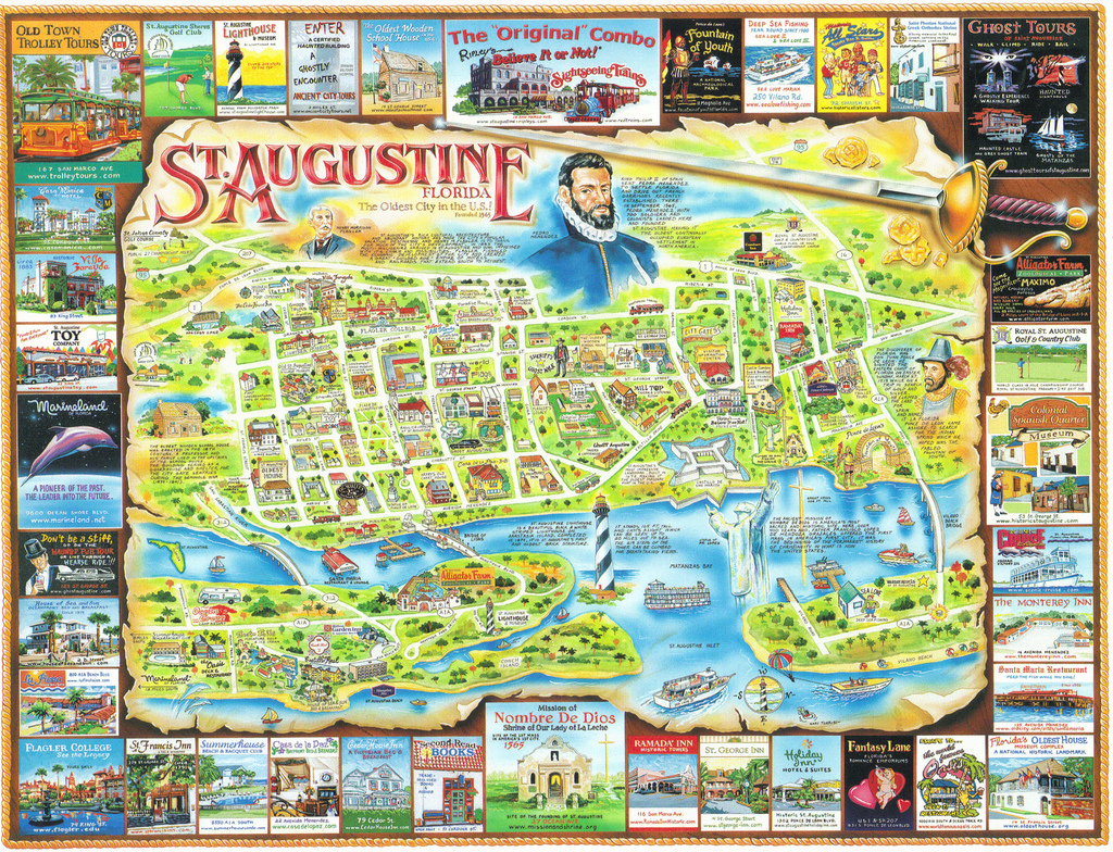 Florida St. Augustine Map Postcard | America's Oldest And Mo… | Flickr - St Augustine Florida Map Of Attractions