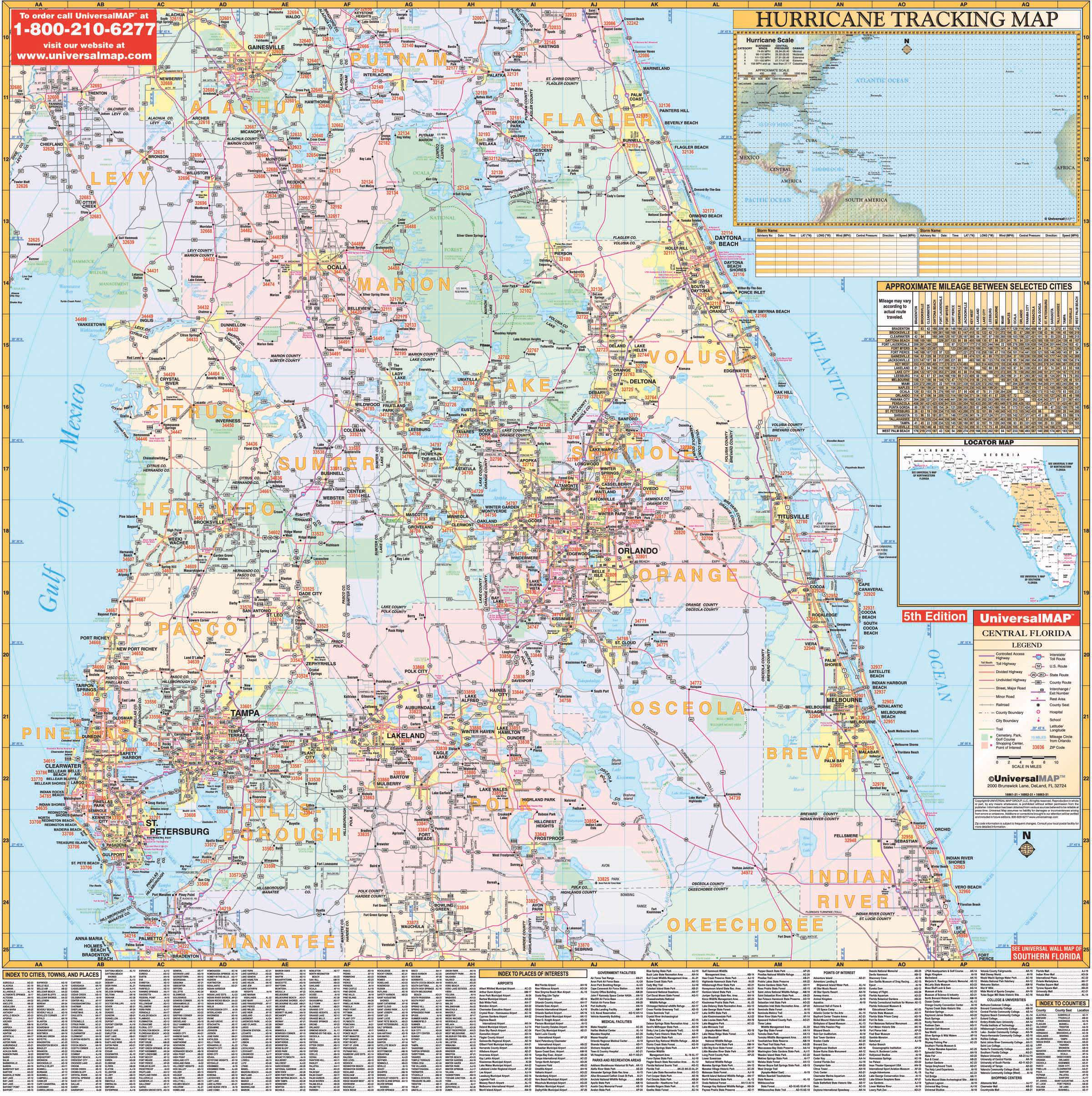 Florida State Central Wall Map – Kappa Map Group - Map Of Central Florida
