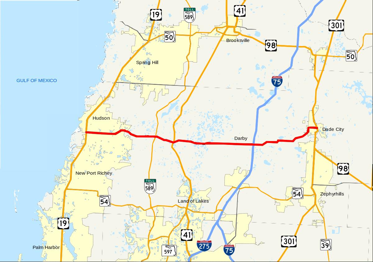 Florida State Road 52 - Wikipedia - Brooksville Florida Map