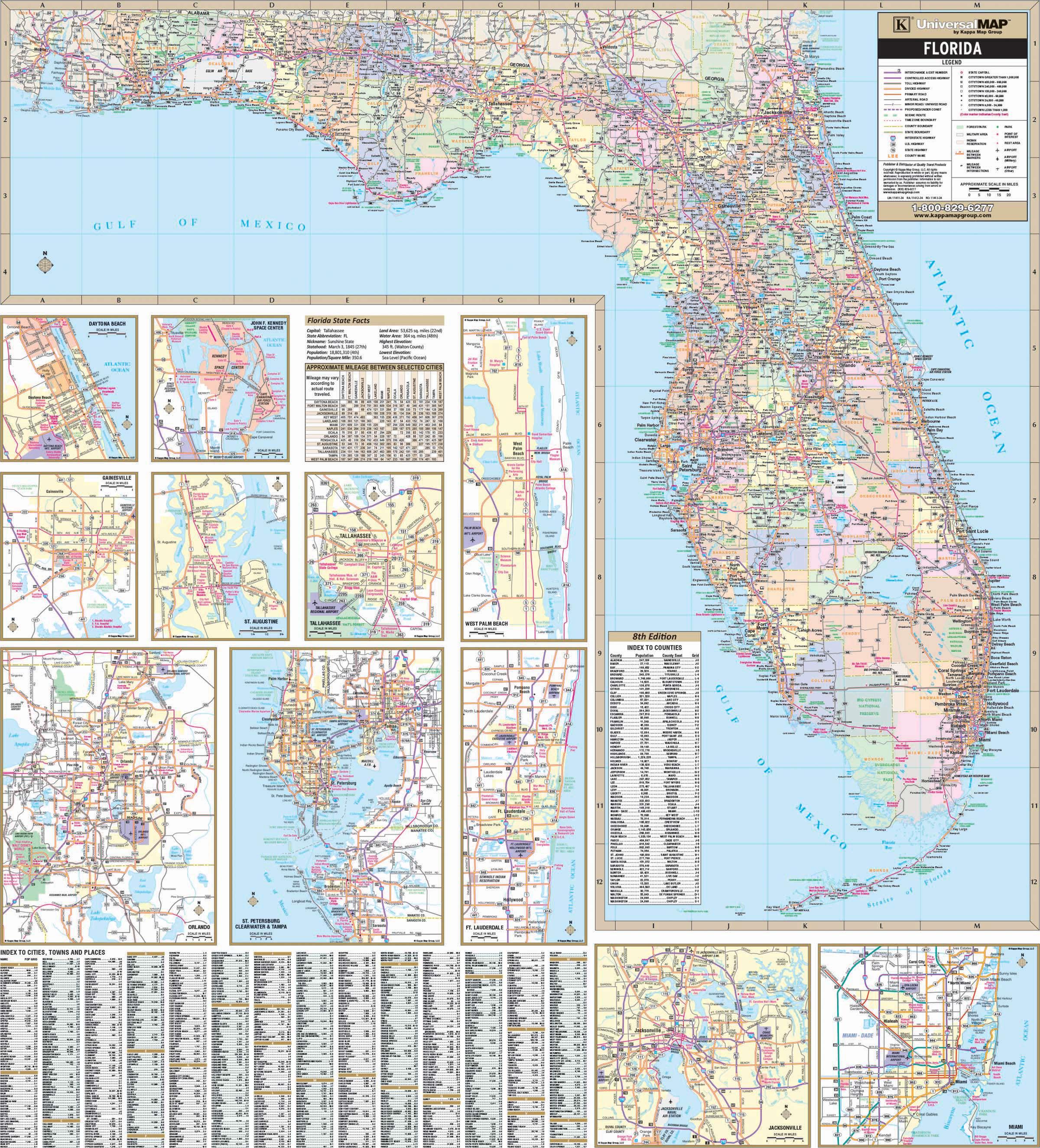 Florida State Wall Map – Kappa Map Group - Florida Wall Map
