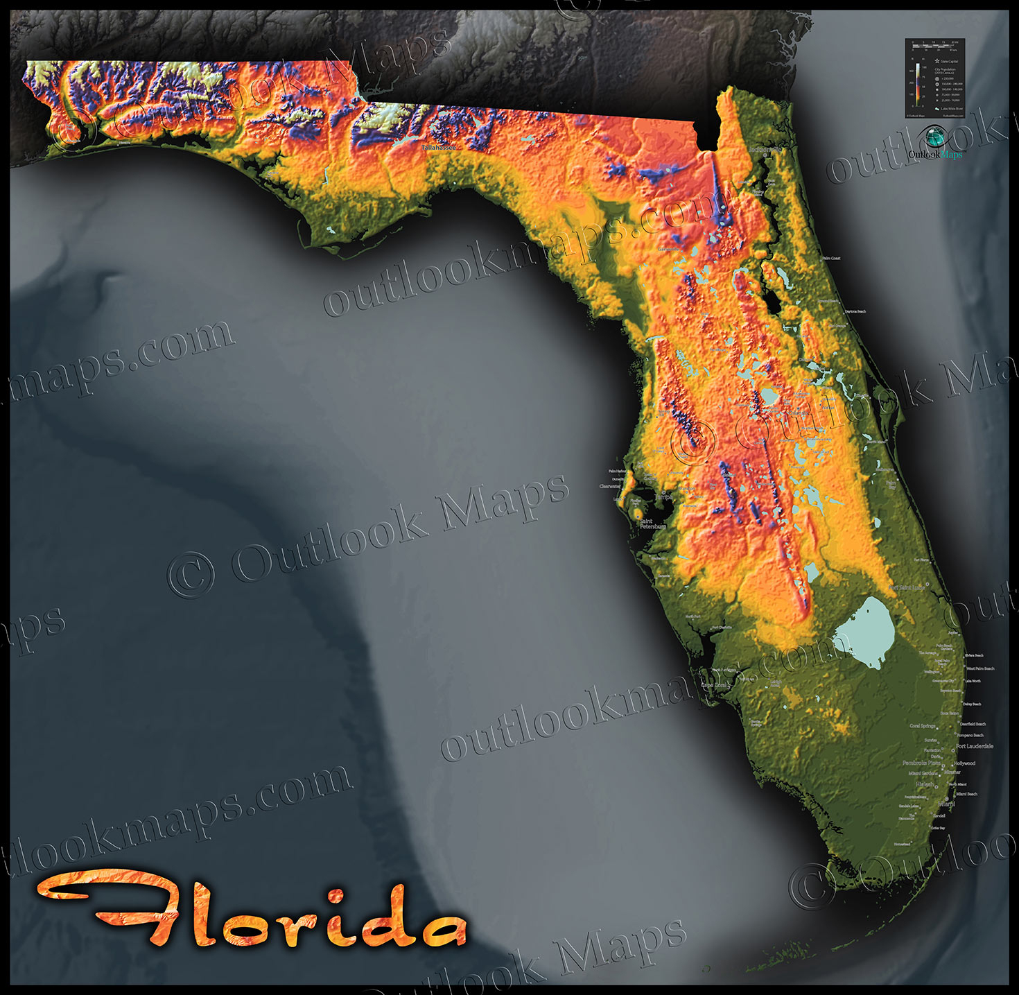 Florida Topography Map | Colorful Natural Physical Landscape - South Florida Topographic Map