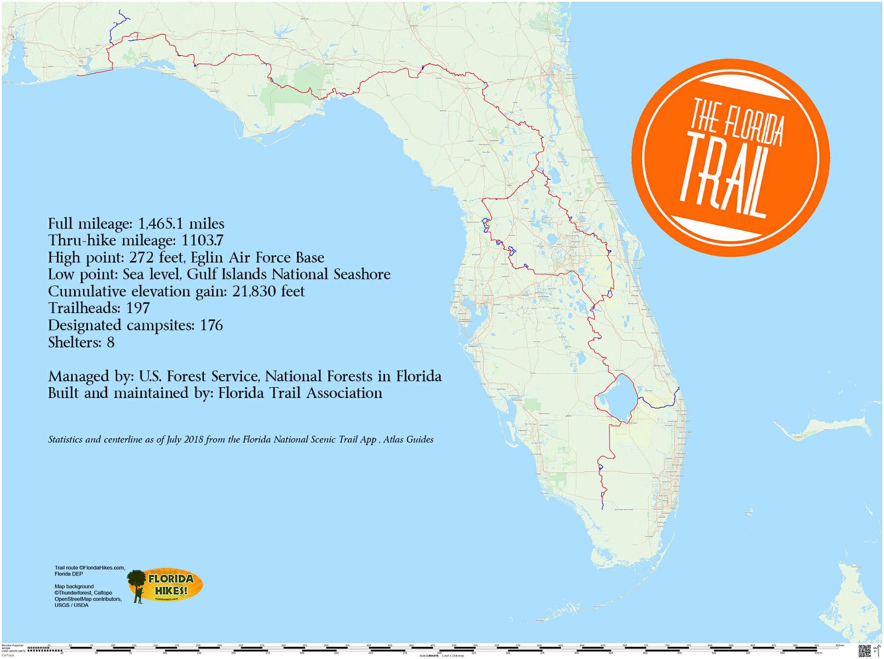 Florida Trail | Florida Hikes! - Florida Trail Map