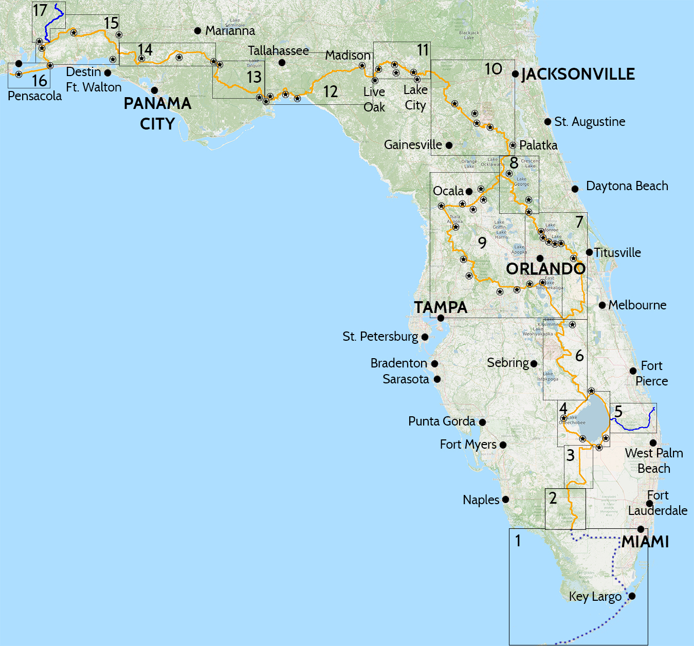 Florida Trail Hiking Guide | Florida Hikes! - Florida Trail Map