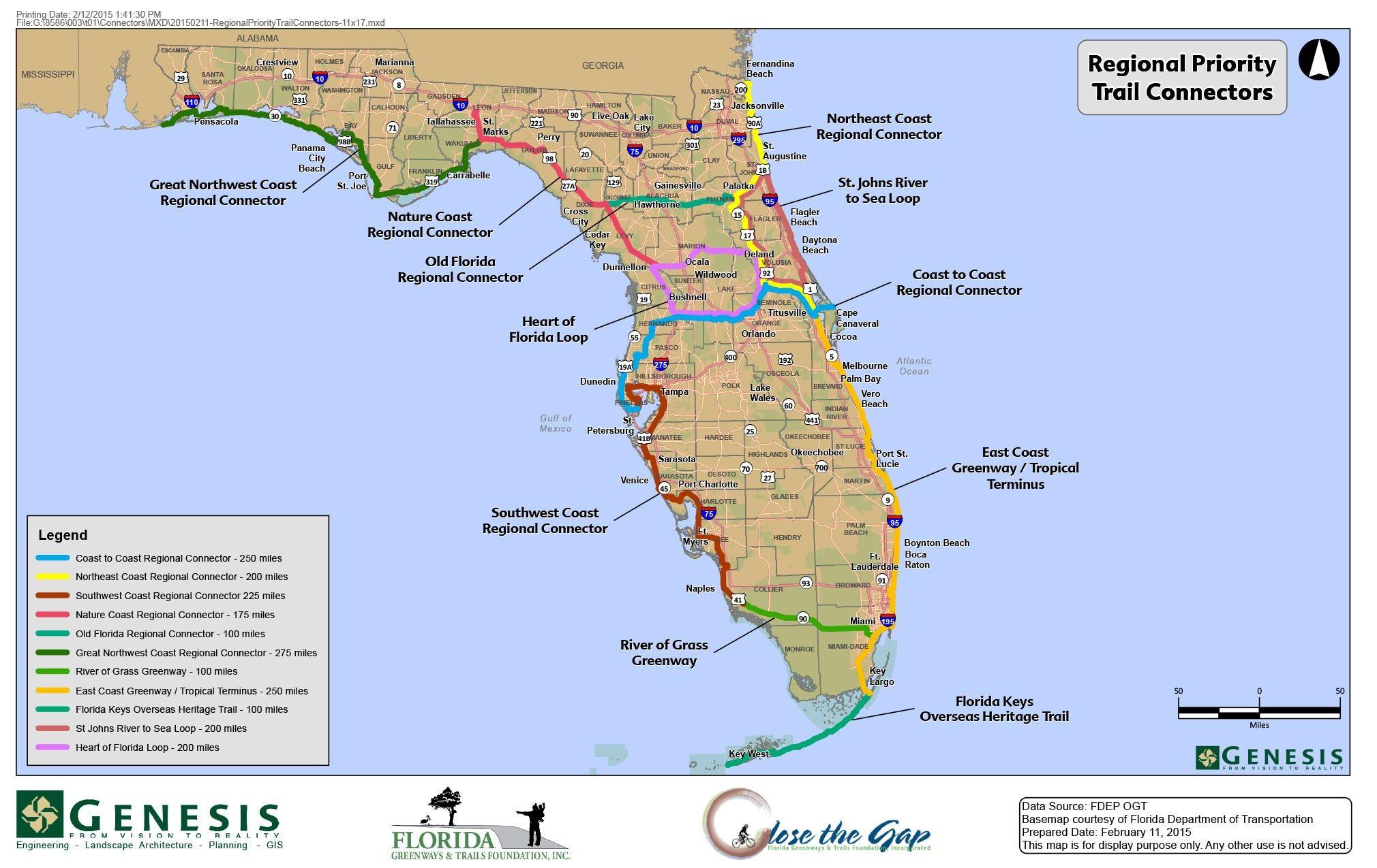 Florida Trail Map | D1Softball - Florida Hikes Map
