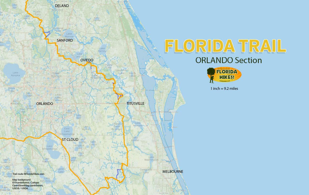 Florida Trail, Orlando | Florida Hikes! - Florida Section Map