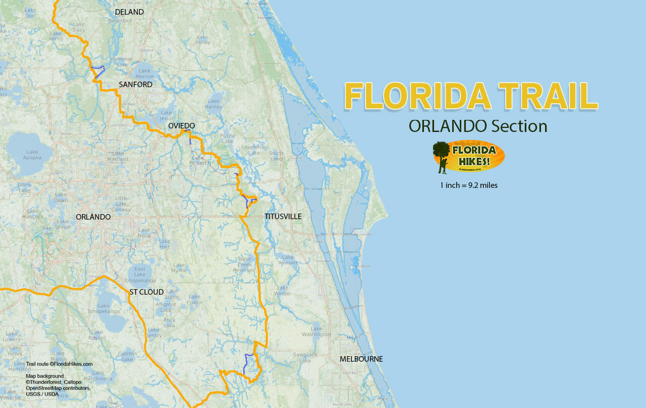 Florida Trail, Orlando | Florida Hikes! - Florida Trail Map