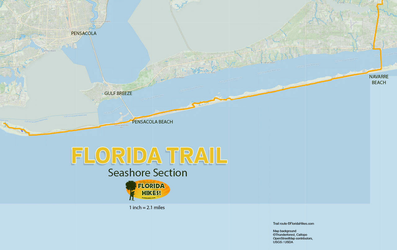 Florida Trail, Seashore | Florida Hikes! - Navarre Florida Map