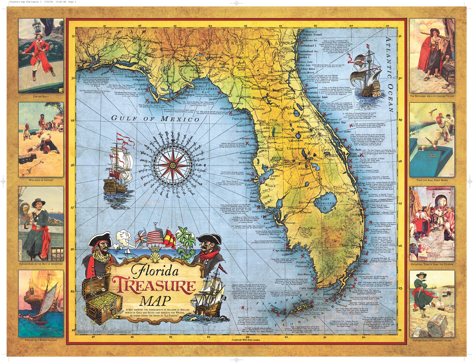 Florida Treasure Map | Historic Print & Map Company - Florida Map Poster