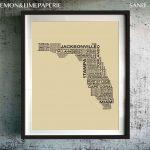 Florida Typography Map Print, Florida Art Print, Florida Wall Art   Florida Map Wall Art