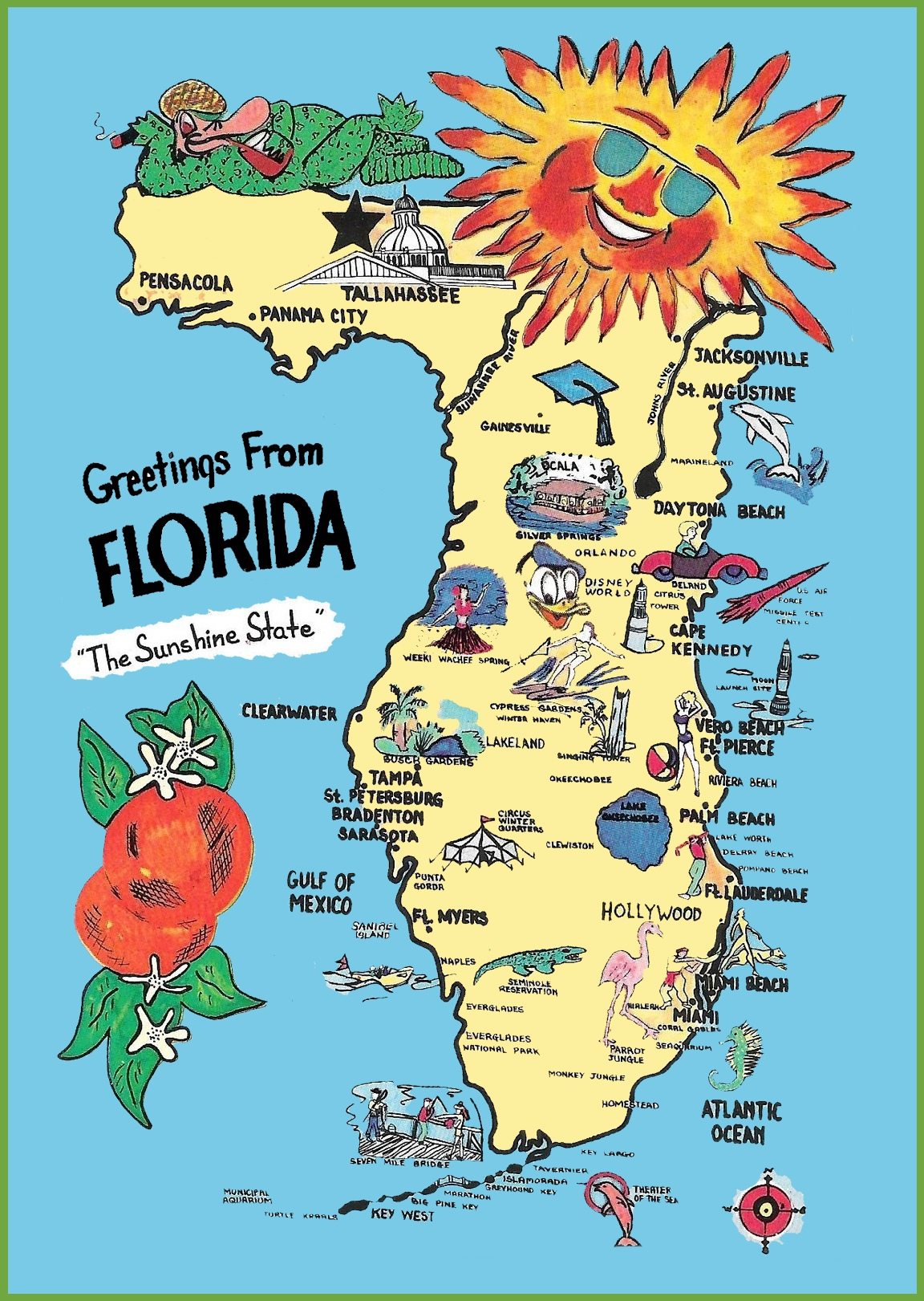 Florida Usa Map And Travel Information | Download Free Florida Usa Map - Florida Cartoon Map