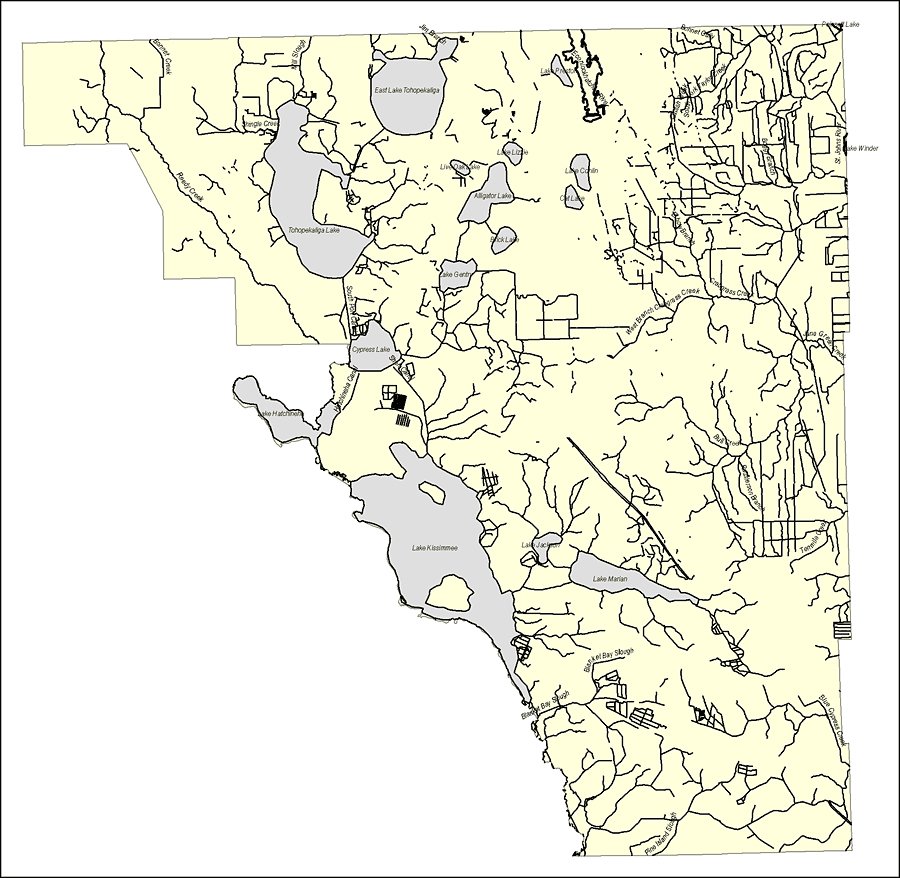 Florida Waterways: Osceola County Outline, 2008 - Map Of Osceola County Florida