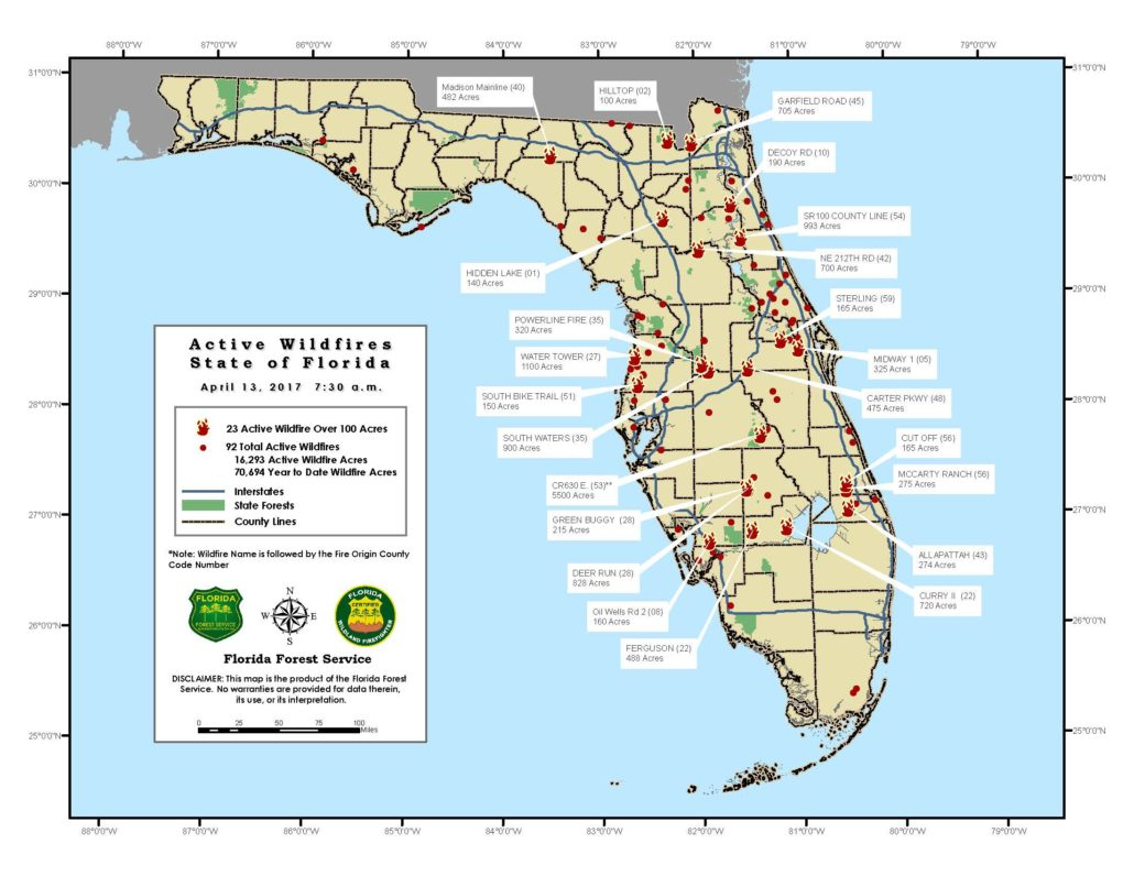 Florida Wildfires Provide Big Start To 2017 Fire Season - Redzone - Current Map Of Florida