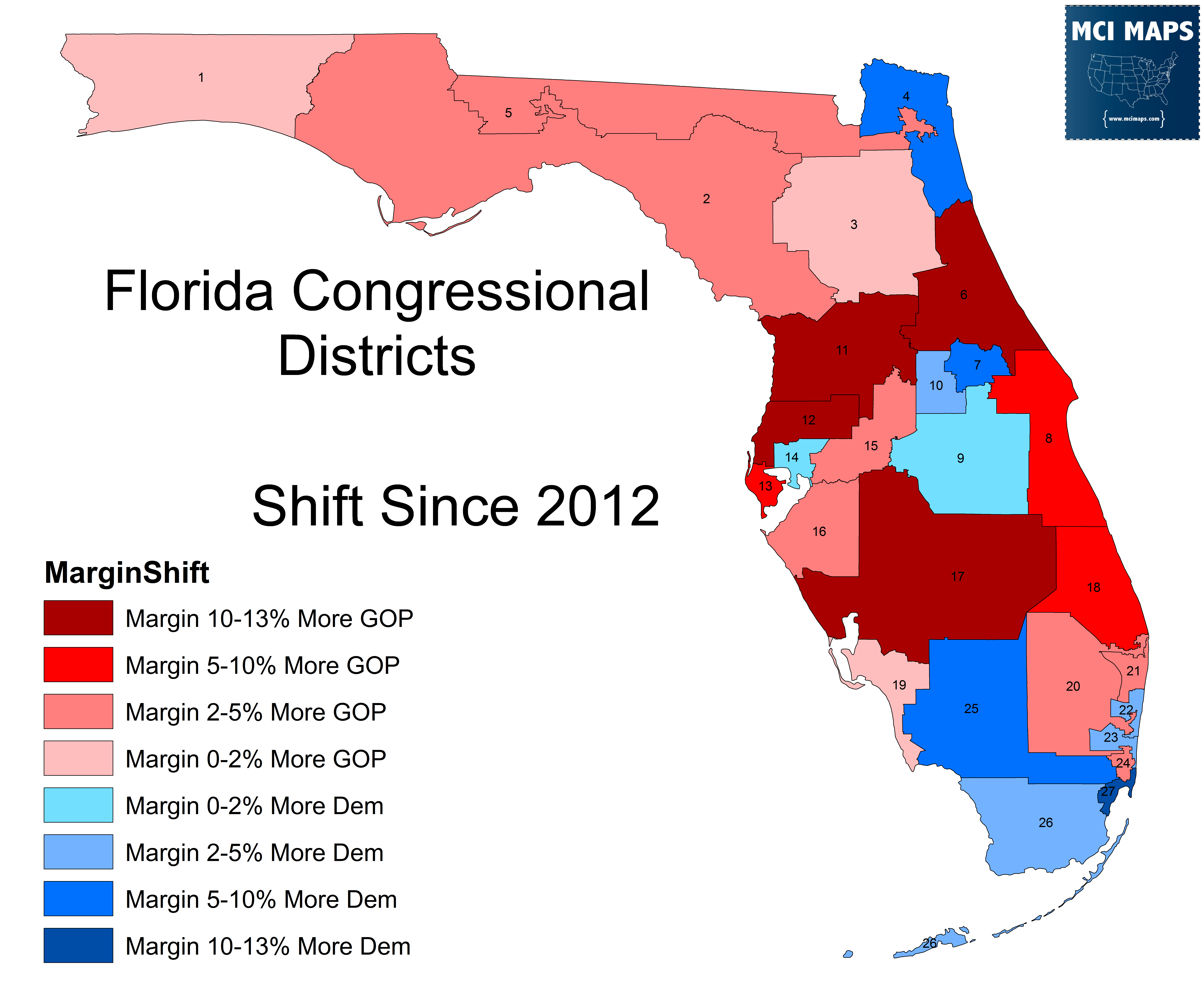 Florida's Congressional District Rankings For 2018 – Mci Maps - Florida Voting Districts Map