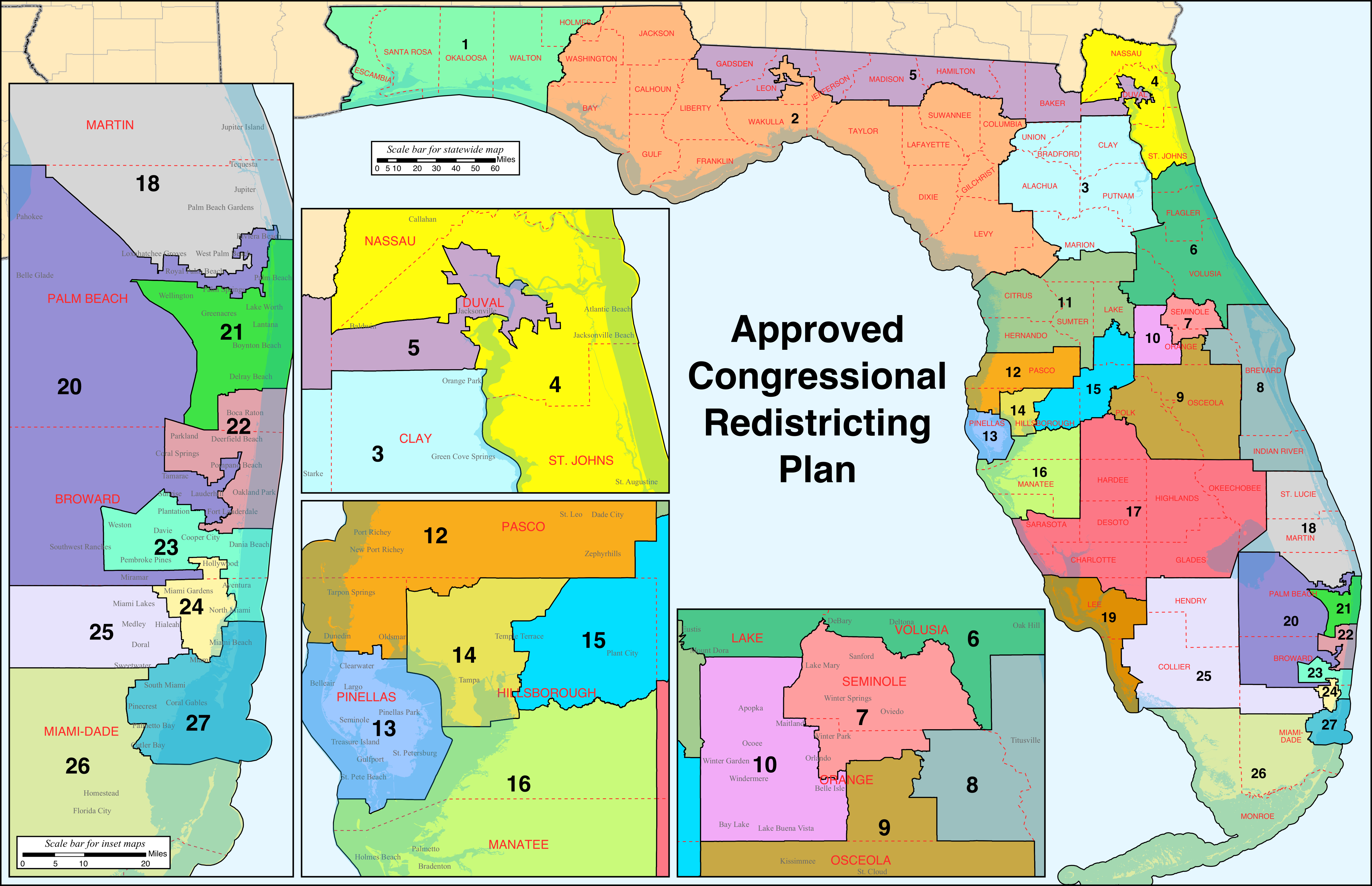 Florida's Congressional Districts - Wikipedia - Florida Election Districts Map
