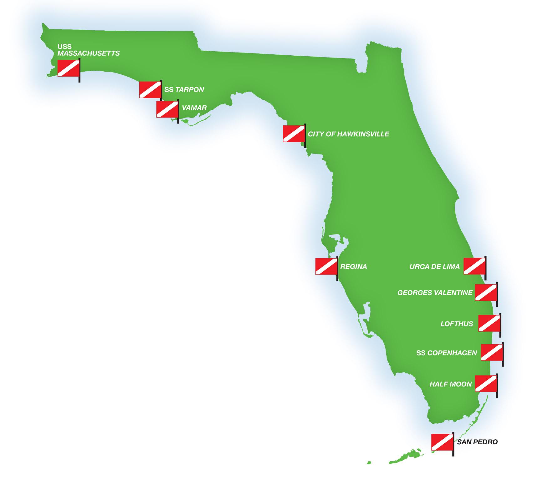 Florida's Shipwrecks: Museums In The Sea | Diver Magazine - Florida Wreck Diving Map