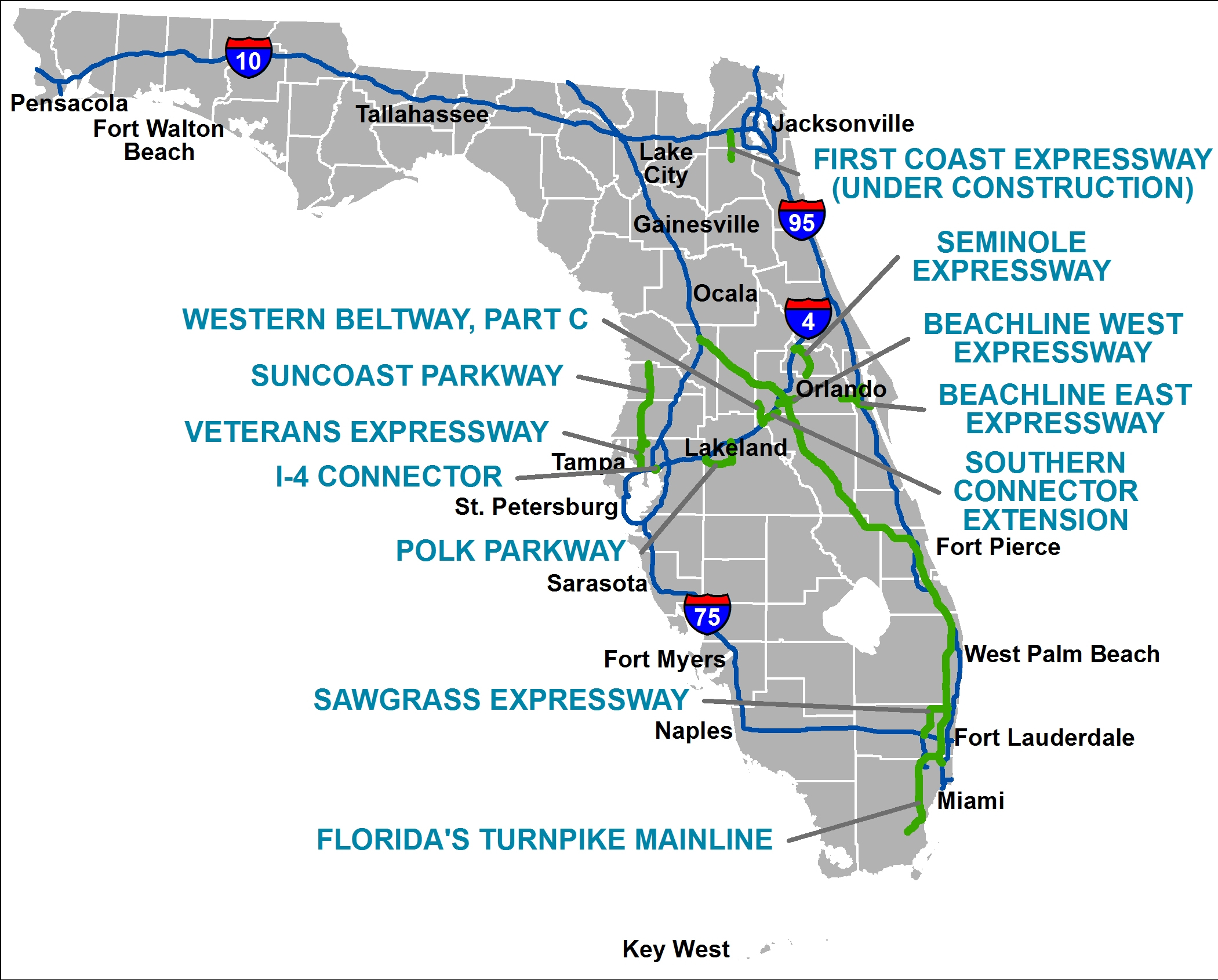 Florida's Turnpike - The Less Stressway - Clear Lake Florida Map