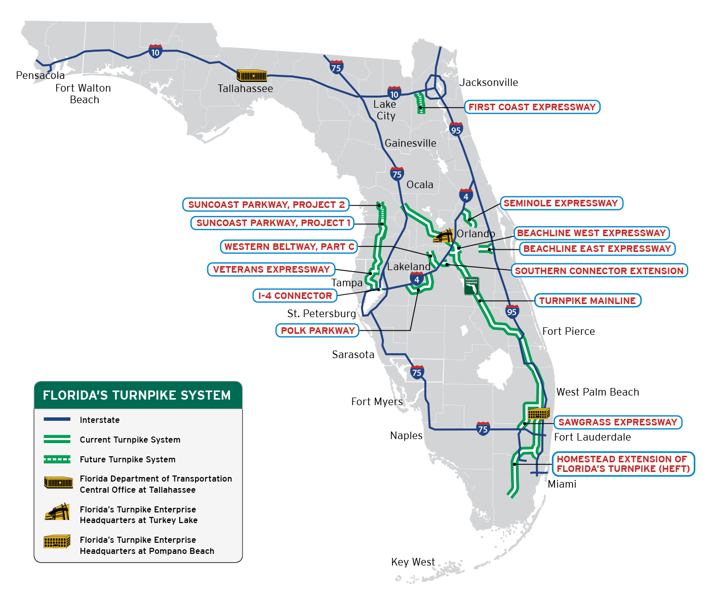 Florida's Turnpike - The Less Stressway - State Of Florida Map Mileage