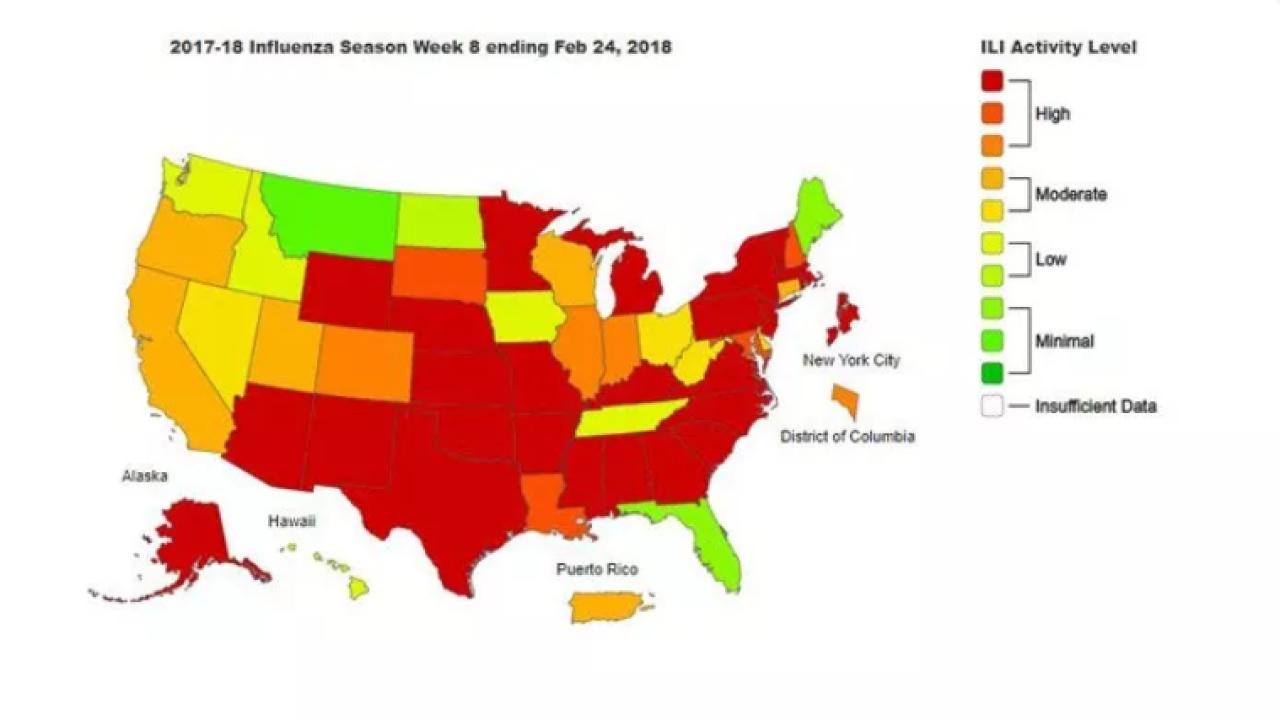 Flu Season Peaks, But 17 More Children Die - Flu Map Florida