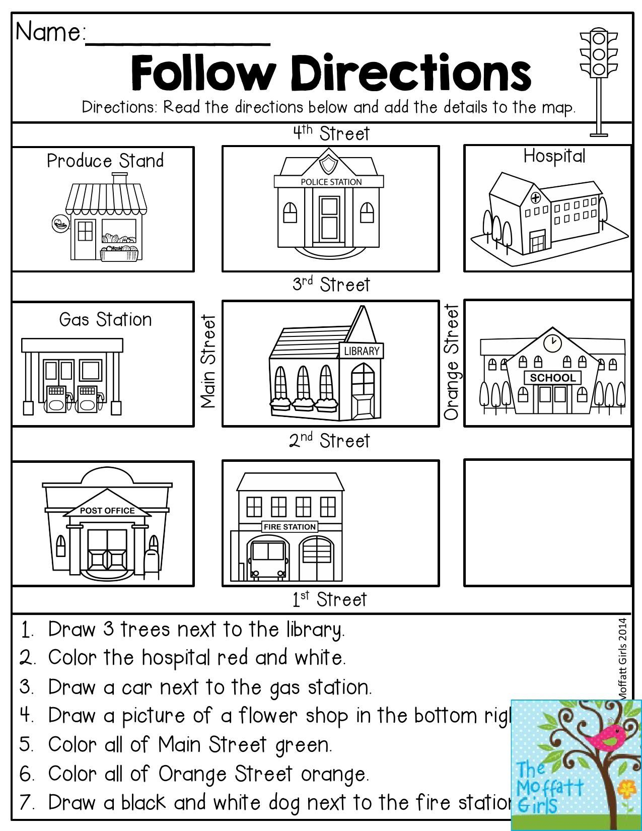 Follow Directions- Read The Directions And Add The Details To The - Free Printable Maps And Directions
