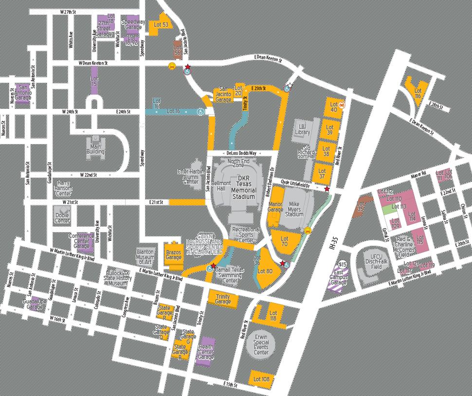 Football Parking 2018 | Parking & Transportation | The University Of - Dkr Texas Memorial Stadium Map