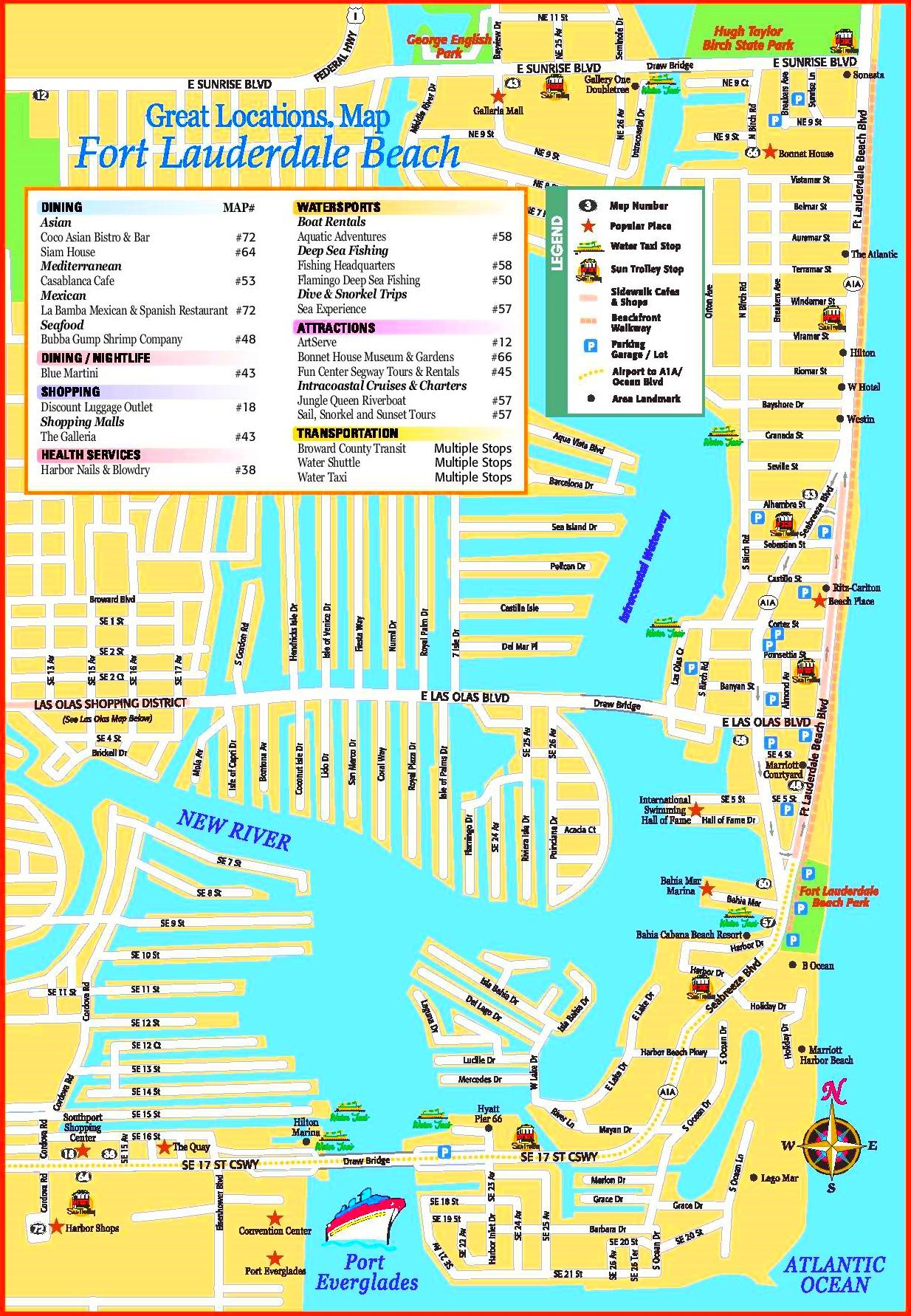 Fort Lauderdale Beach Tourist Map - Street Map Of Fort Lauderdale Florida