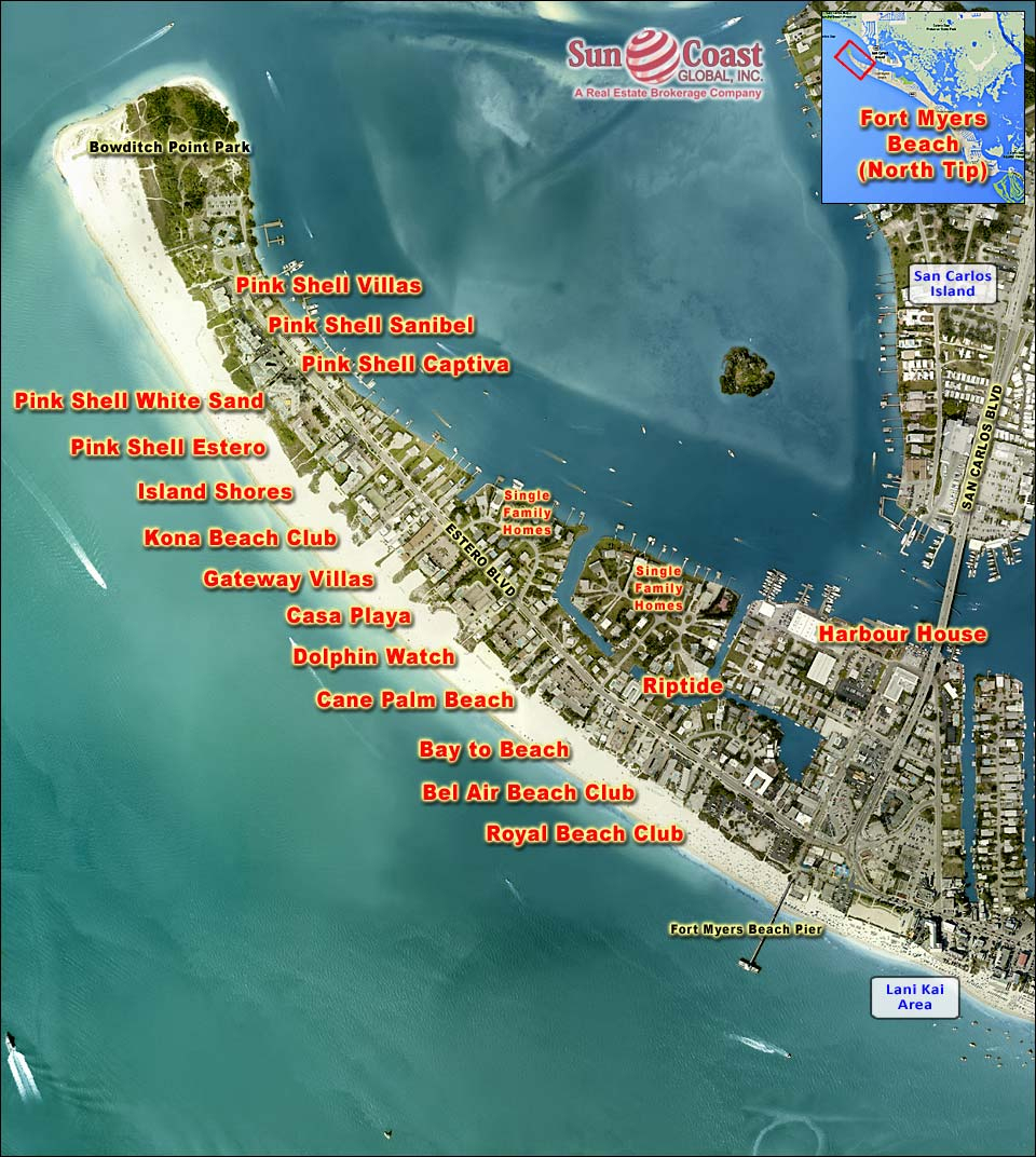 Fort Myers Beach Real Estate Fort Myers Beach Florida Fla Fl - Estero Beach Florida Map