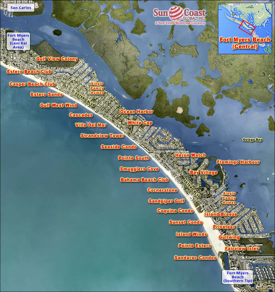 Fort Myers Beach Real Estate Fort Myers Beach Florida Fla Fl - Map Of Fort Myers Beach Florida