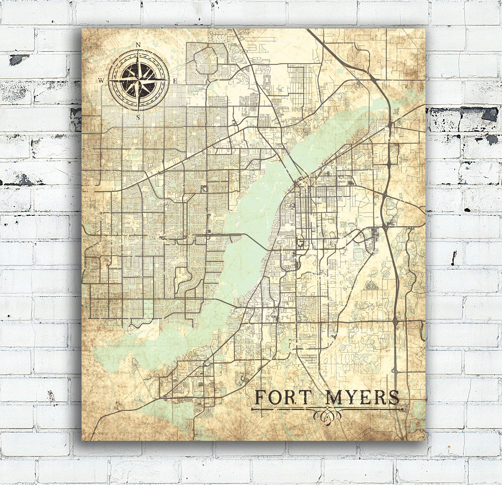 Fort Myers Fl Canvas Print Florida Vintage Map Fort Myers Vintage - Old Florida Maps Prints