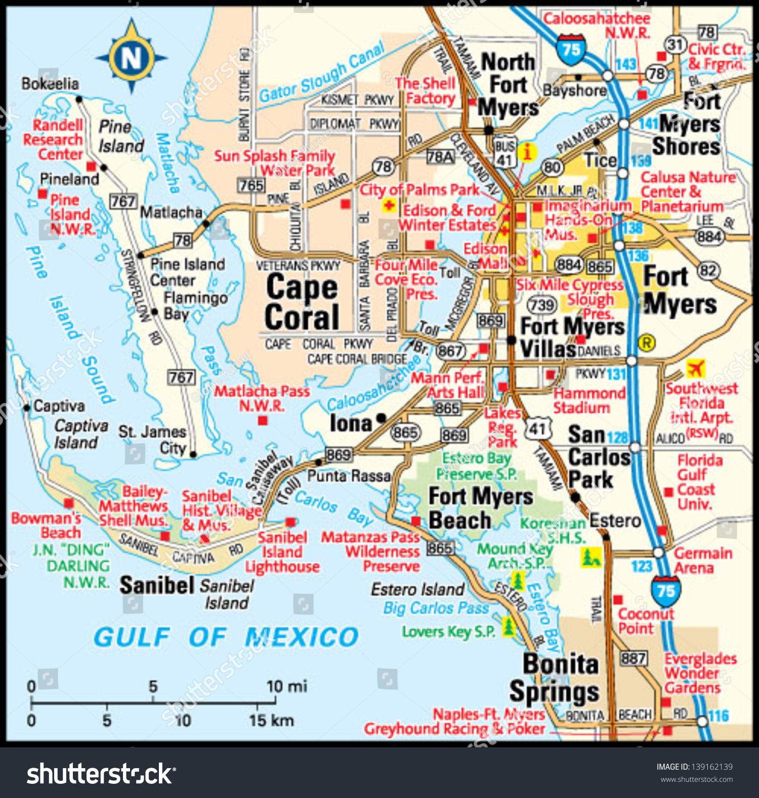 Fort Myers Florida Area Map Image Vectorielle De Stock (Libre De - Where Is Fort Myers Florida On A Map