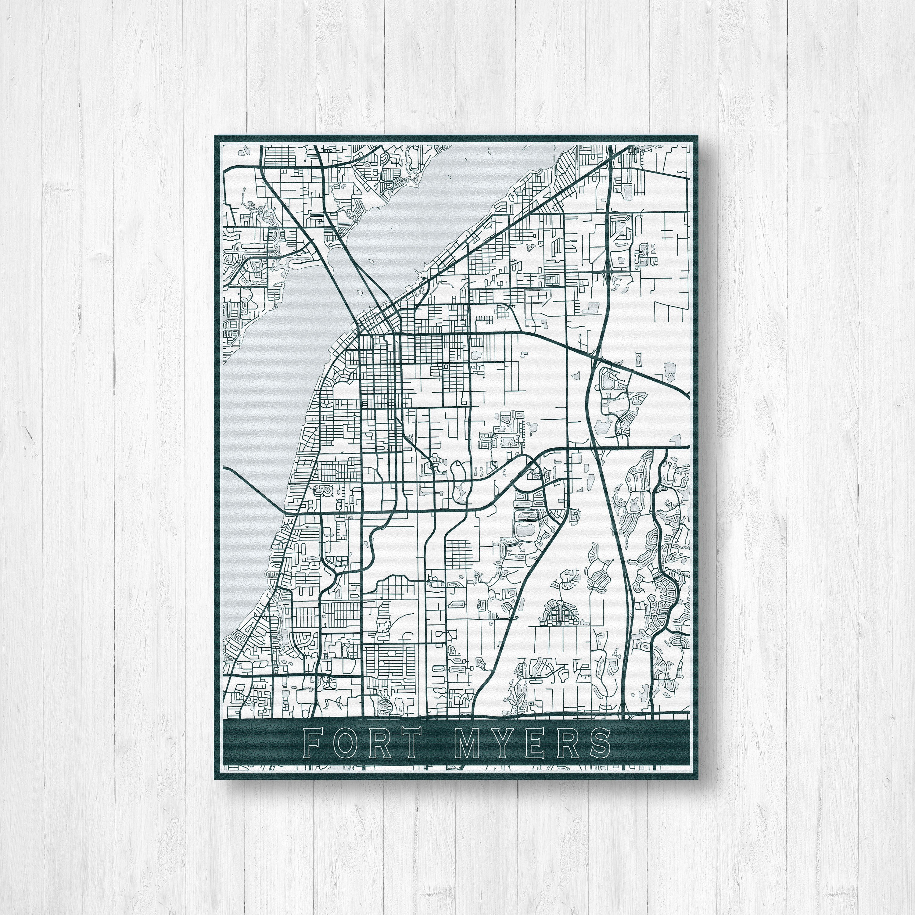 Fort Myers Florida Street Map Print, Fort Myers Map, Fort Myers Map - Street Map Of Fort Myers Florida