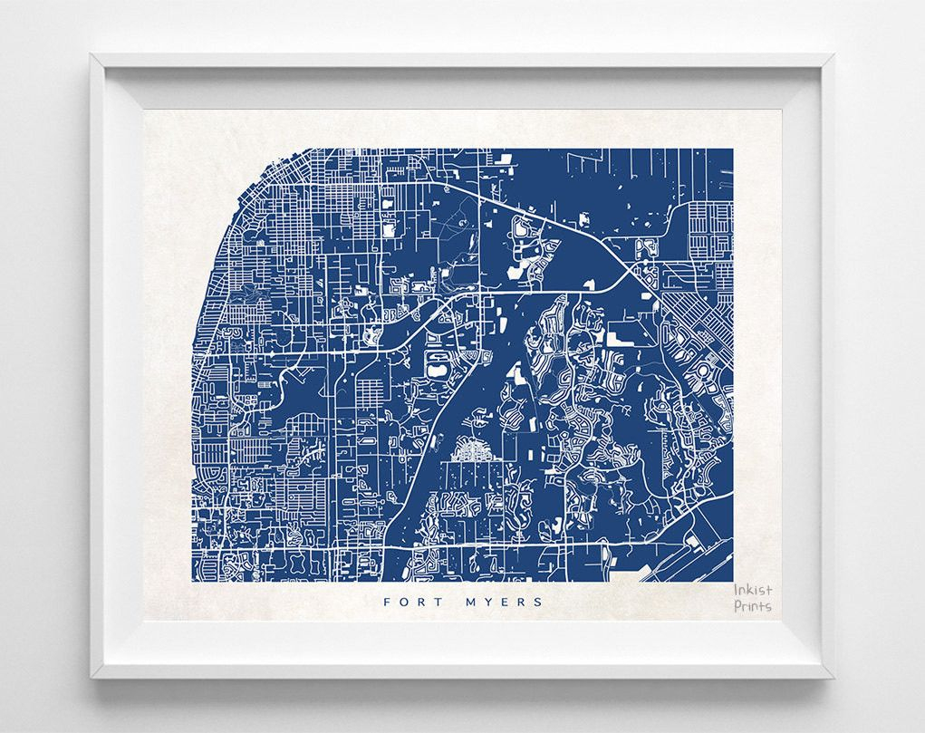 Fort Myers, Florida Street Map Print - Street Map Of Fort Myers Florida