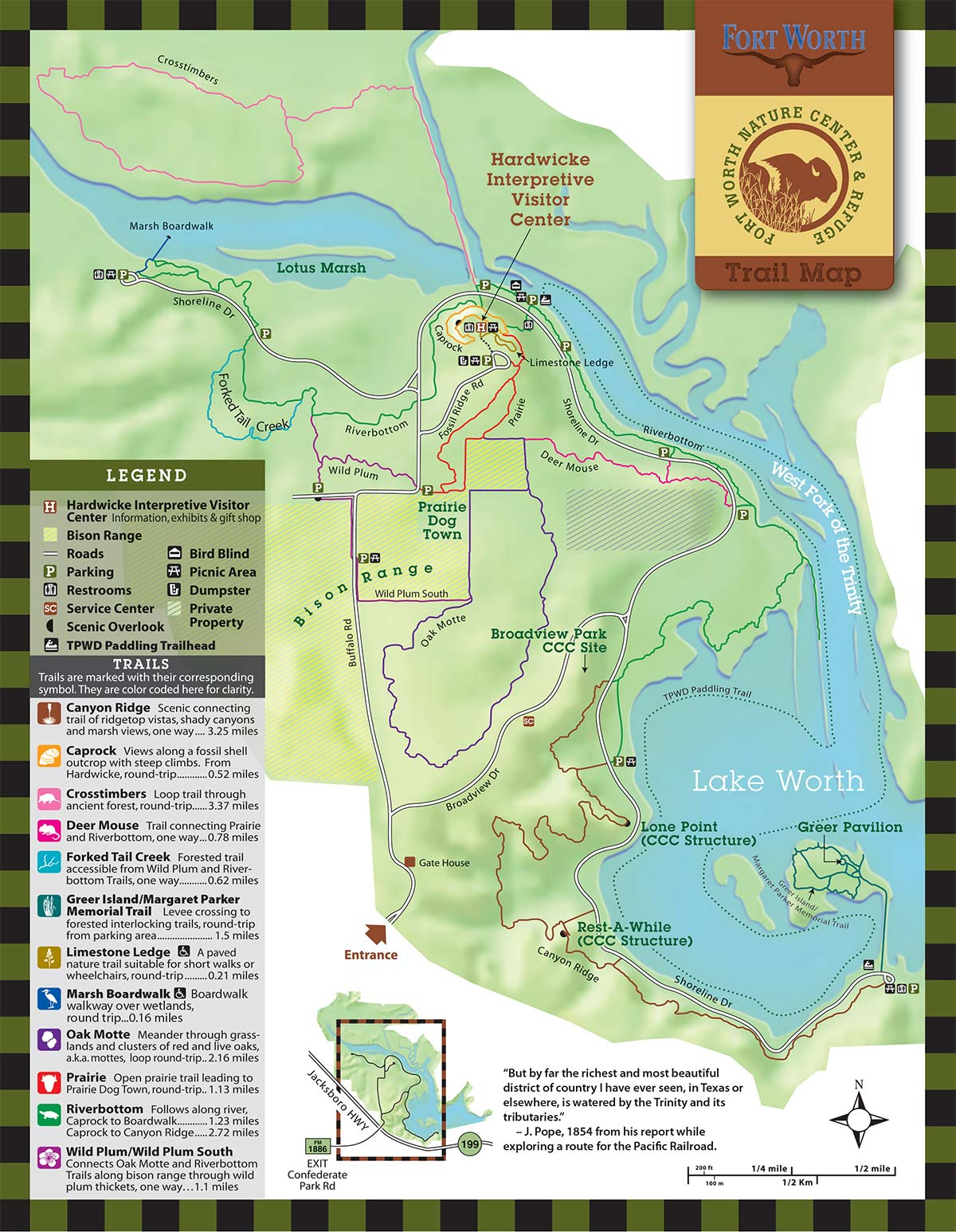 Fort Worth Nature Center & Refuge | Trails - Texas Forts Trail Map