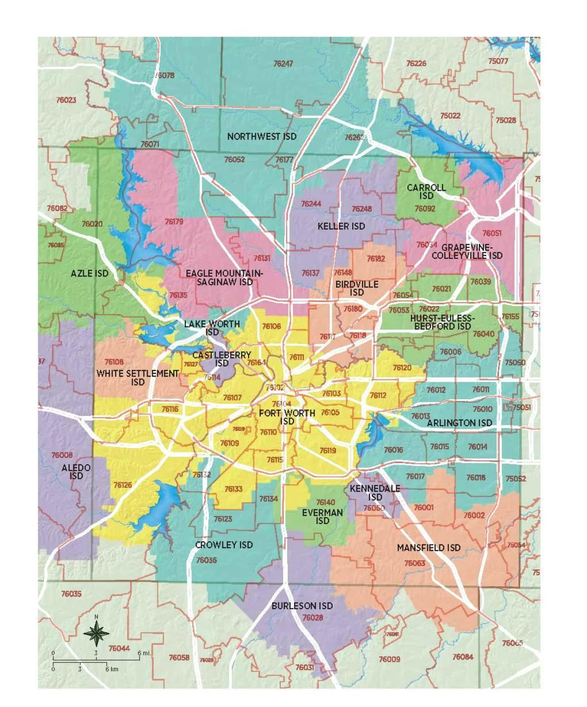 Fort Worth School District Map - Fort Worth School Map (Texas - Usa) - Texas School District Map