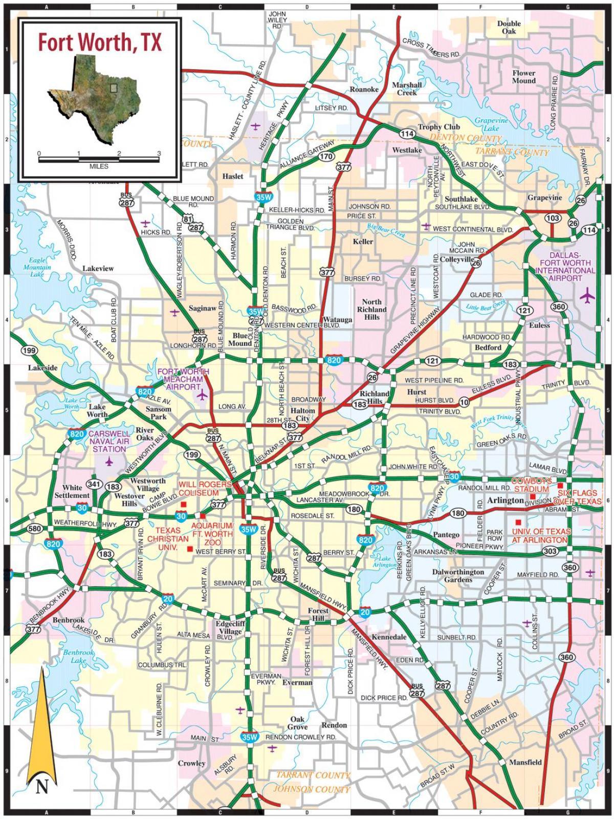 Fort Worth Street Map - Street Map Fort Worth Texas (Texas - Usa) - Street Map Of Fort Worth Texas