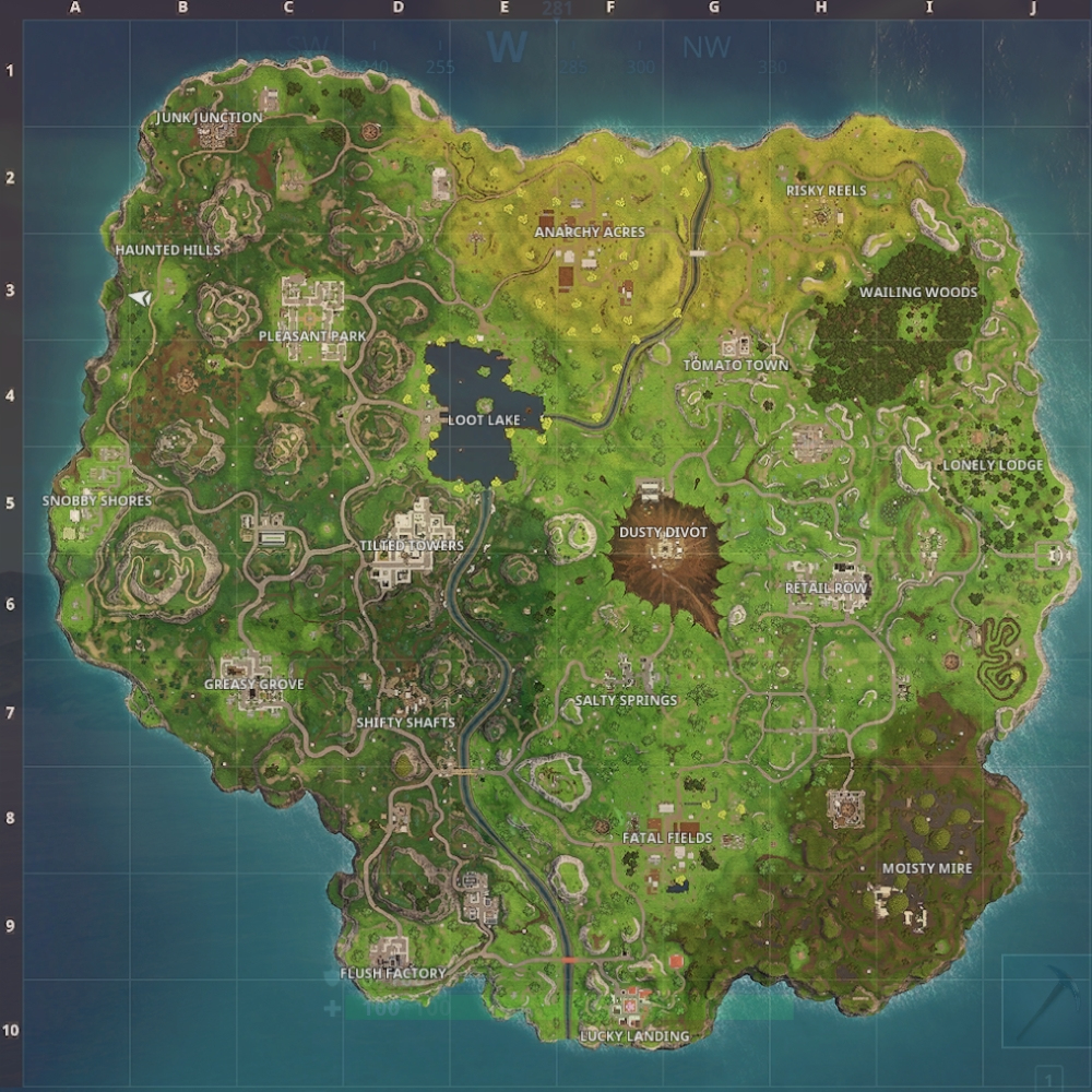 Fortnite: Battle Royale - Map Update Guide (Dusty Divot And Risky - Printable Fortnite Map