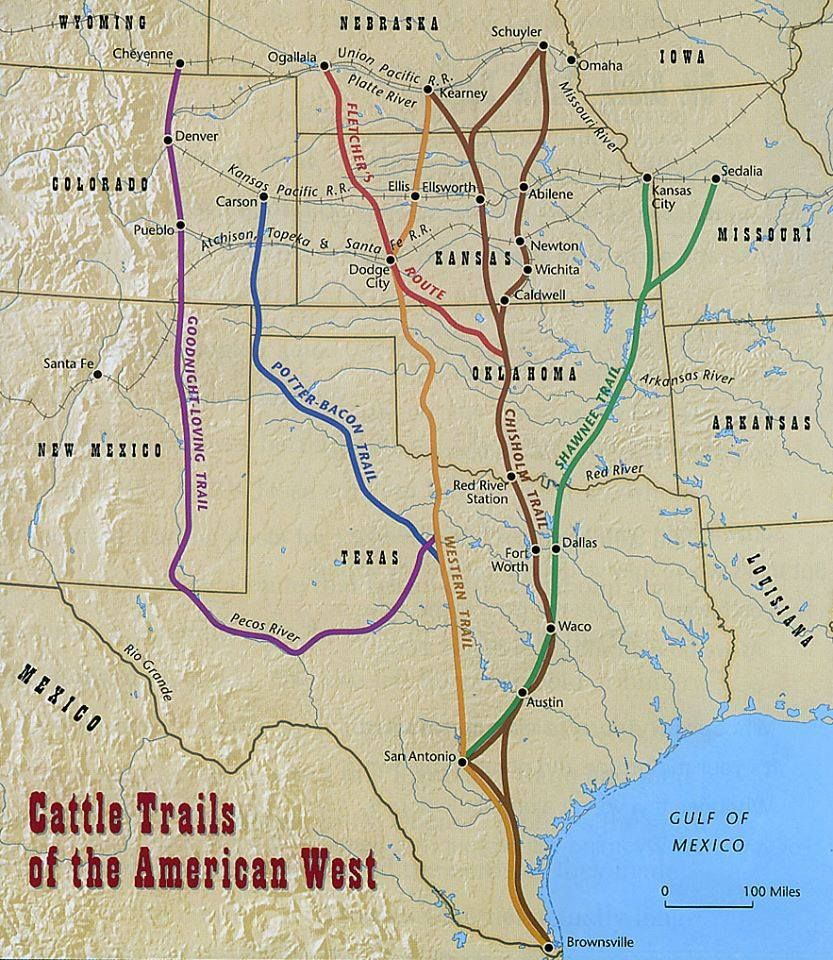 Found This 1870 Map Of The Cattle Trails Of The West | Cowboys Have - Adobe Walls Texas Map